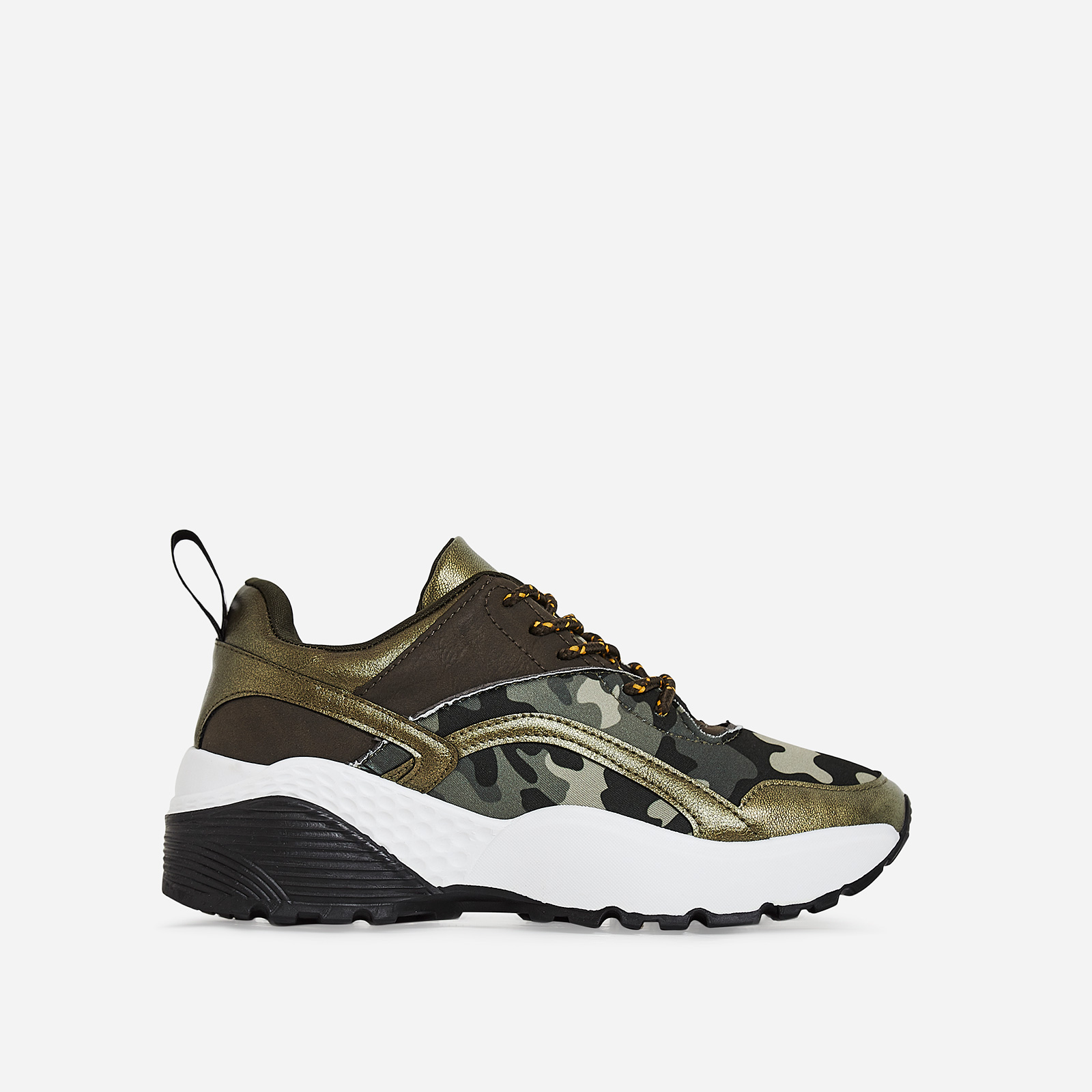 Benji Chunky Sole Camouflage Trainer In Green Faux Leather