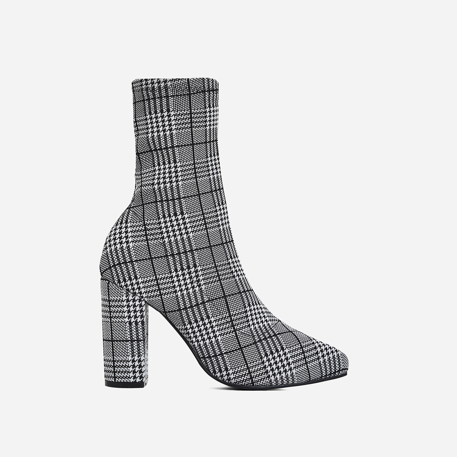 Blair Block Heel Ankle Sock Boot In Black Tartan Fabric