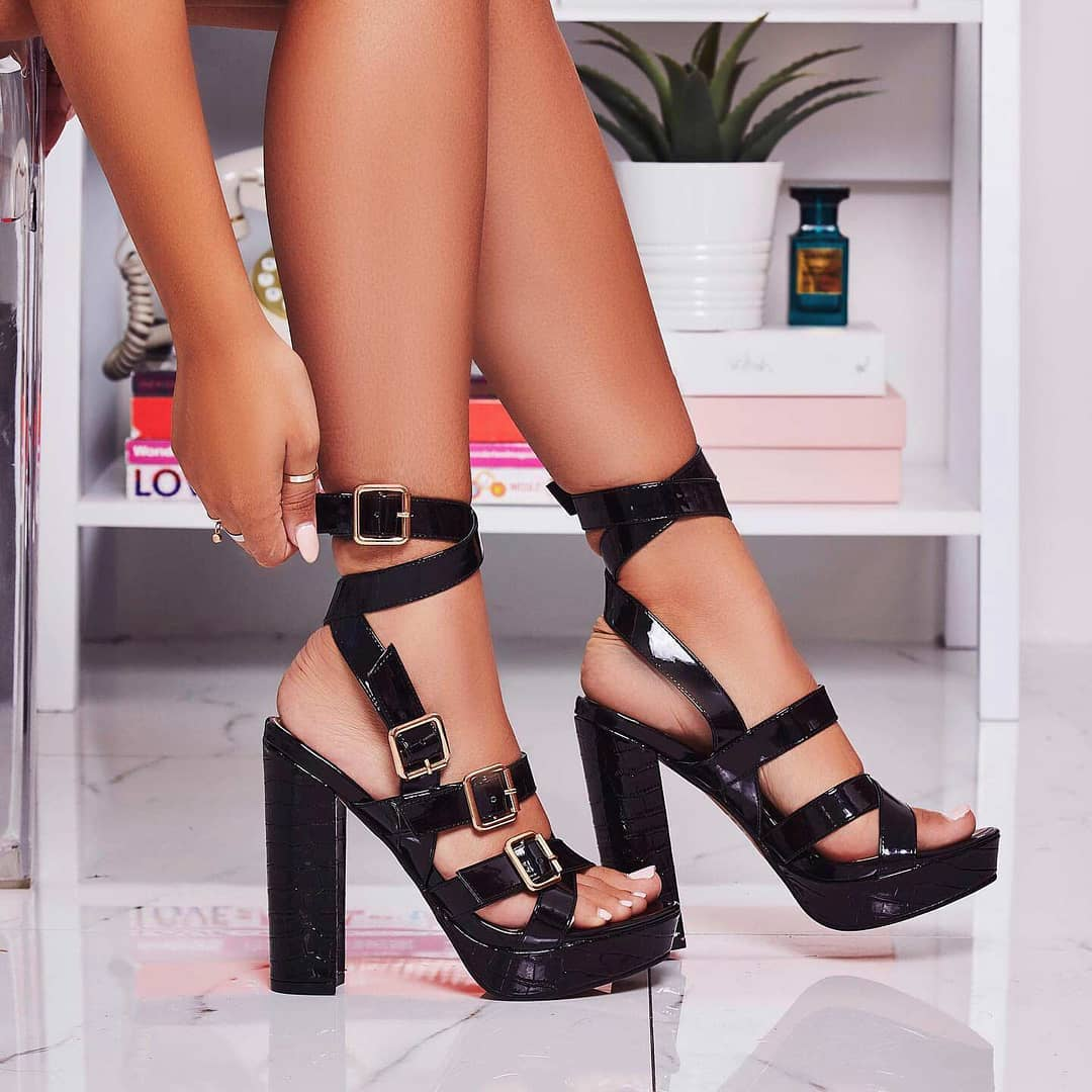 Romee Buckle Detail Platform Block Heel In Black Patent