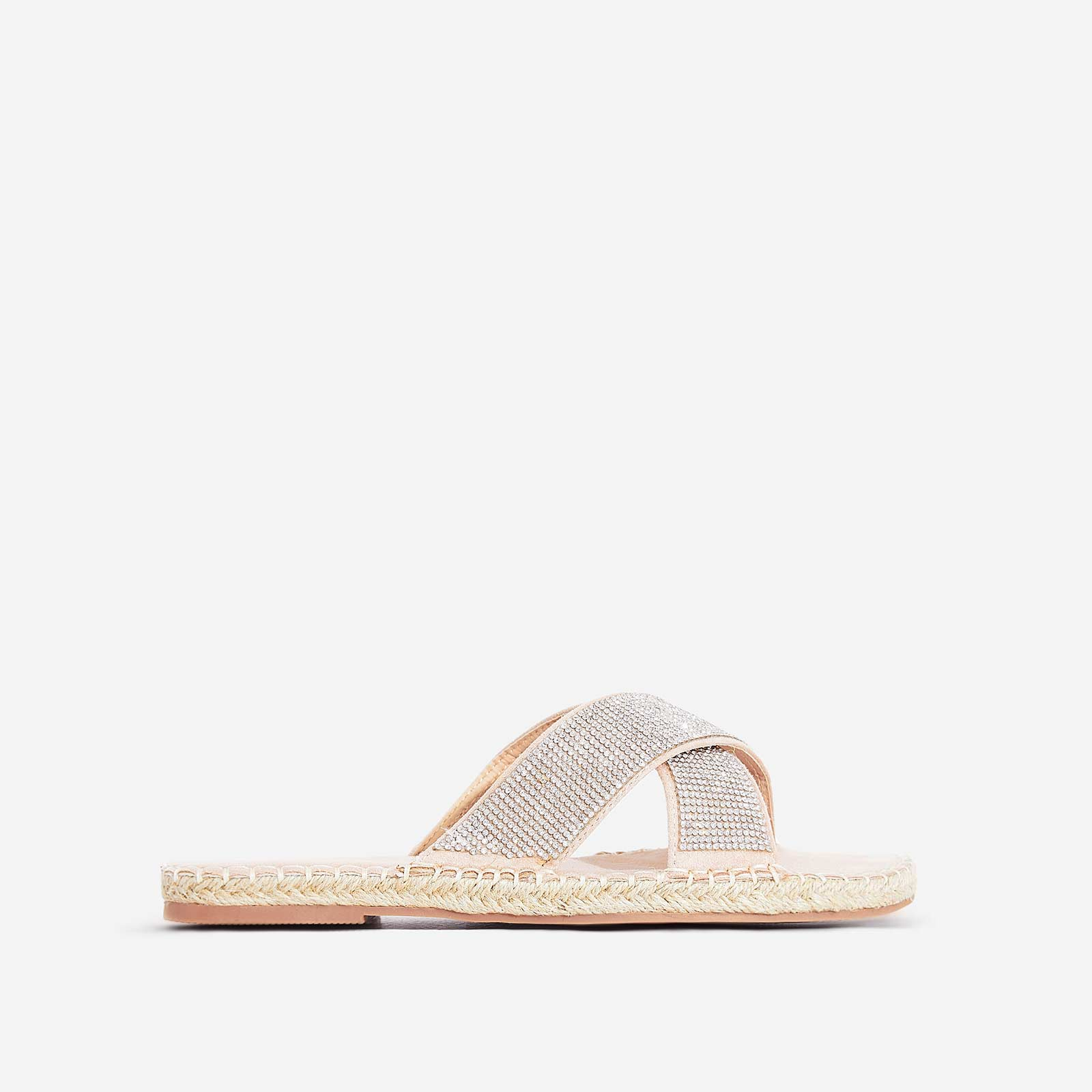 Queen Diamante Detail Espadrille Flat Sandal In Pink Faux Suede
