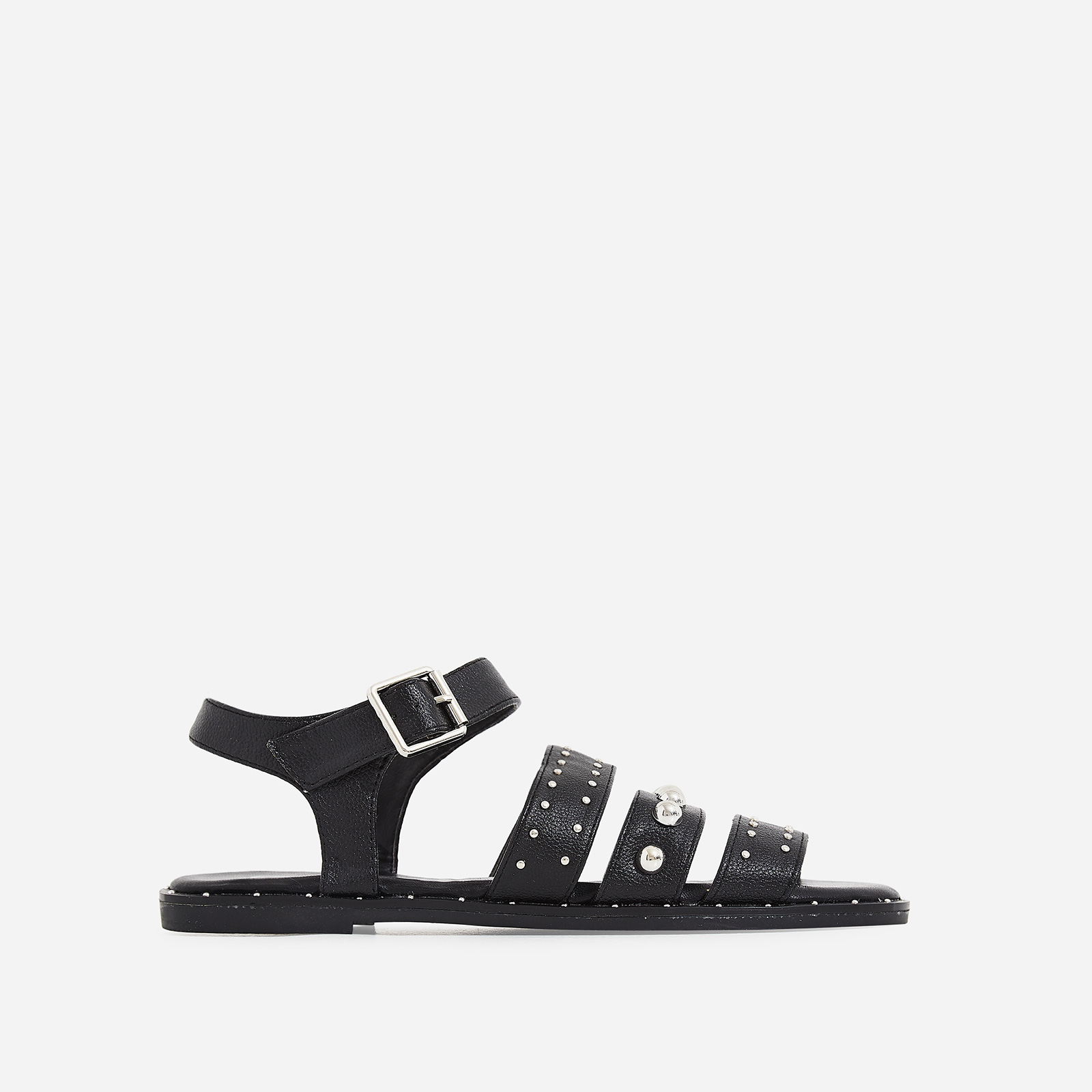 Elara Studded Detail Sandal In Black Faux Leather