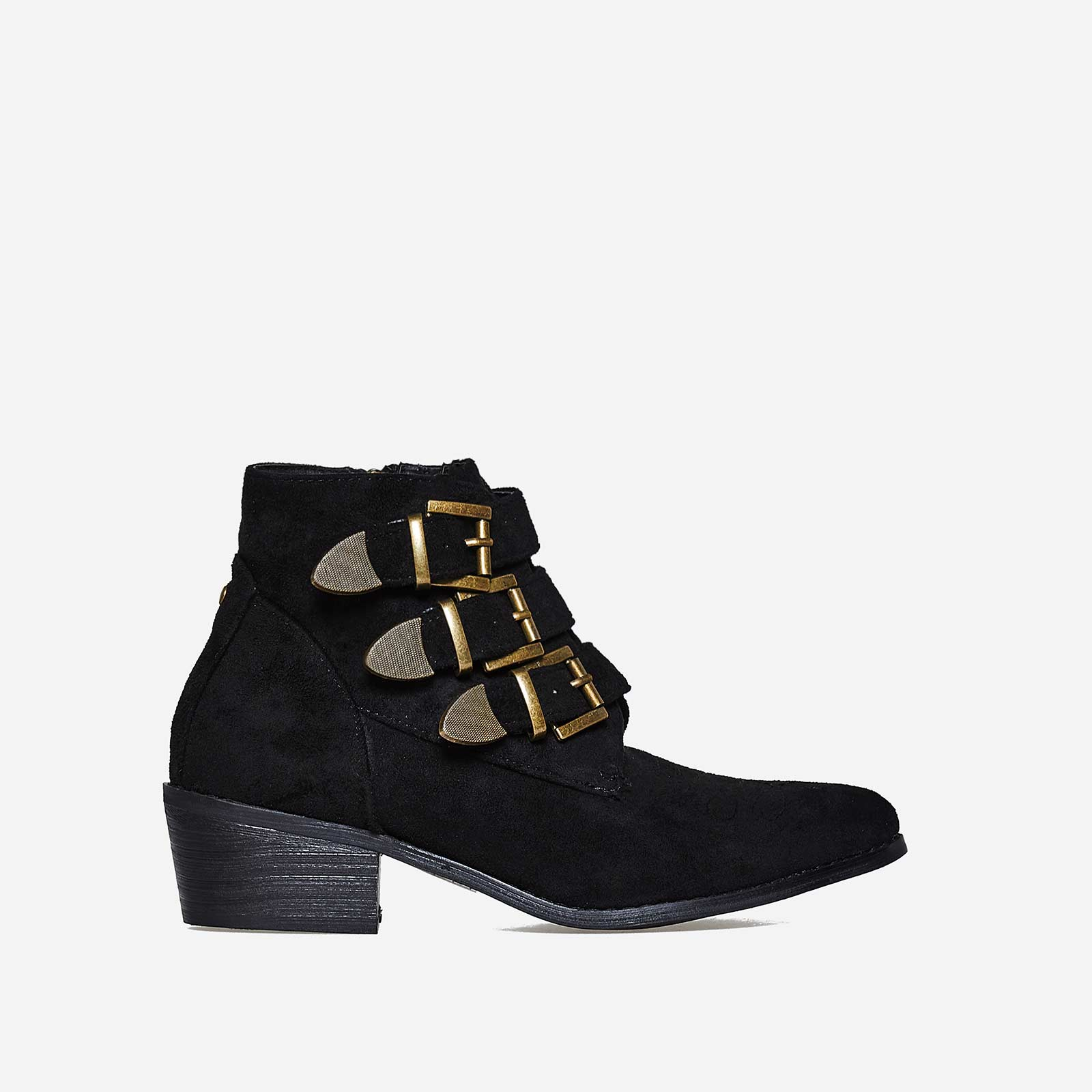 Winona Buckle Detail Ankle Boot In Black Faux Suede