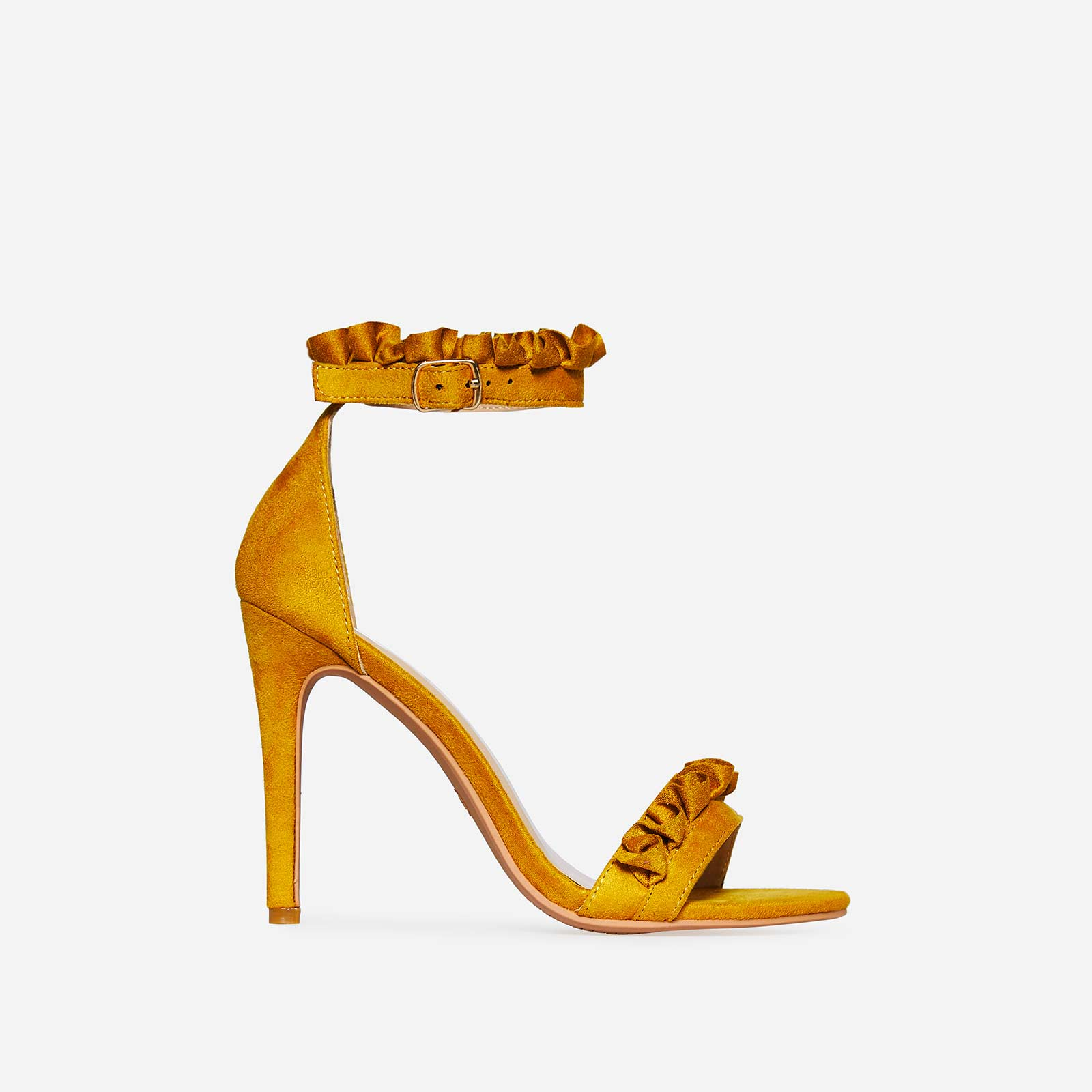 Florence Frill Detail Heel In Yellow Faux Suede