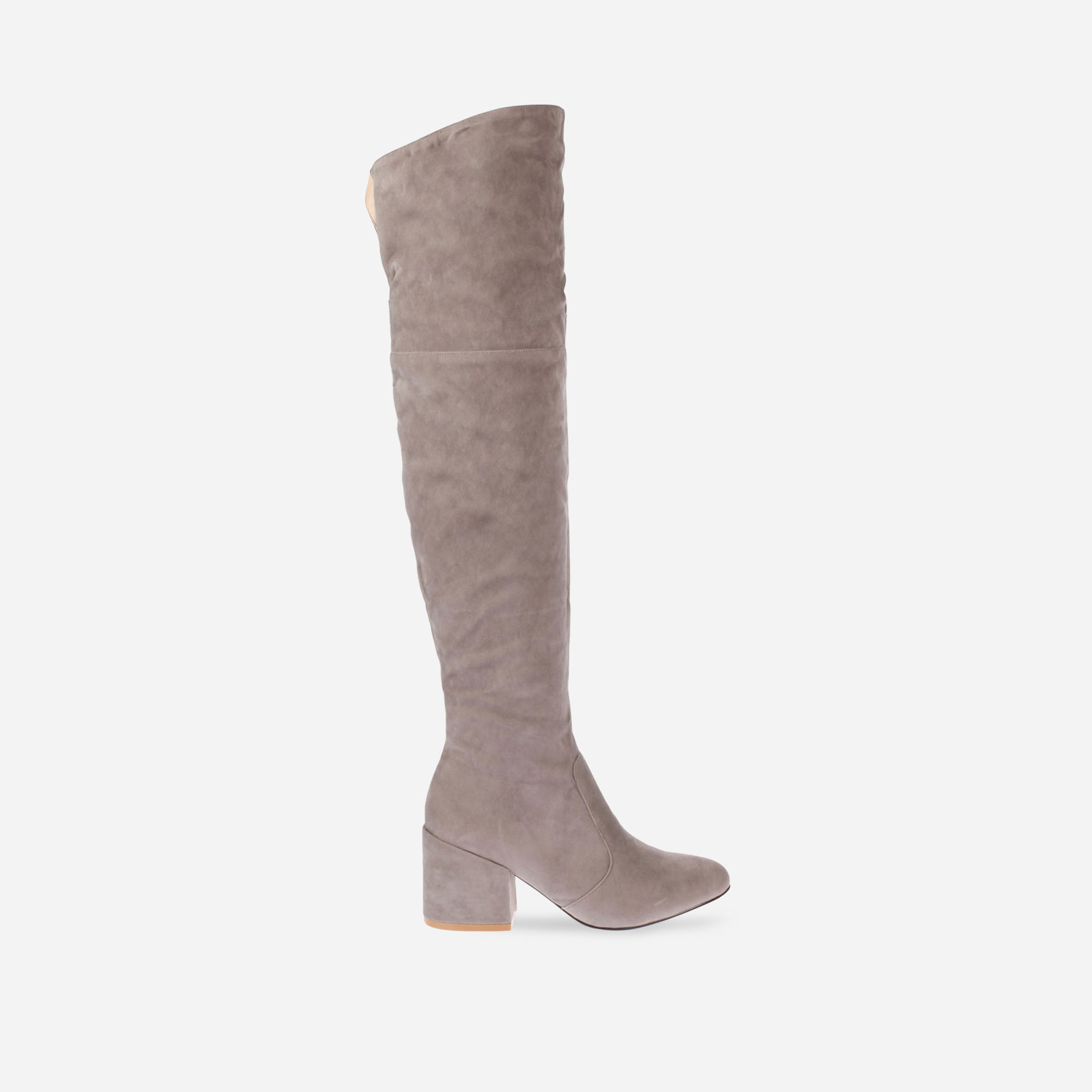 Harmony Over The Knee Boot With Midi Heel In Grey Faux Suede Image 1