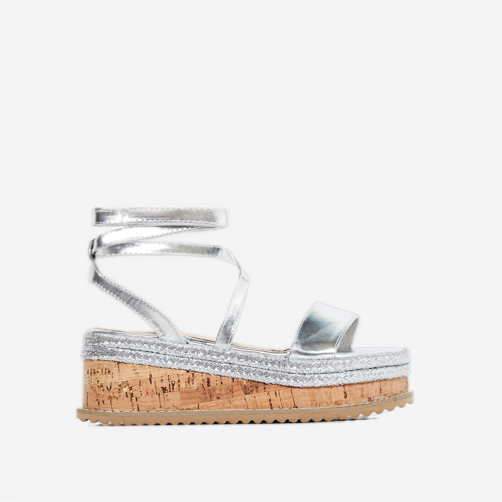 Abigail Strappy Espadrille Flatform In Silver Faux Leather