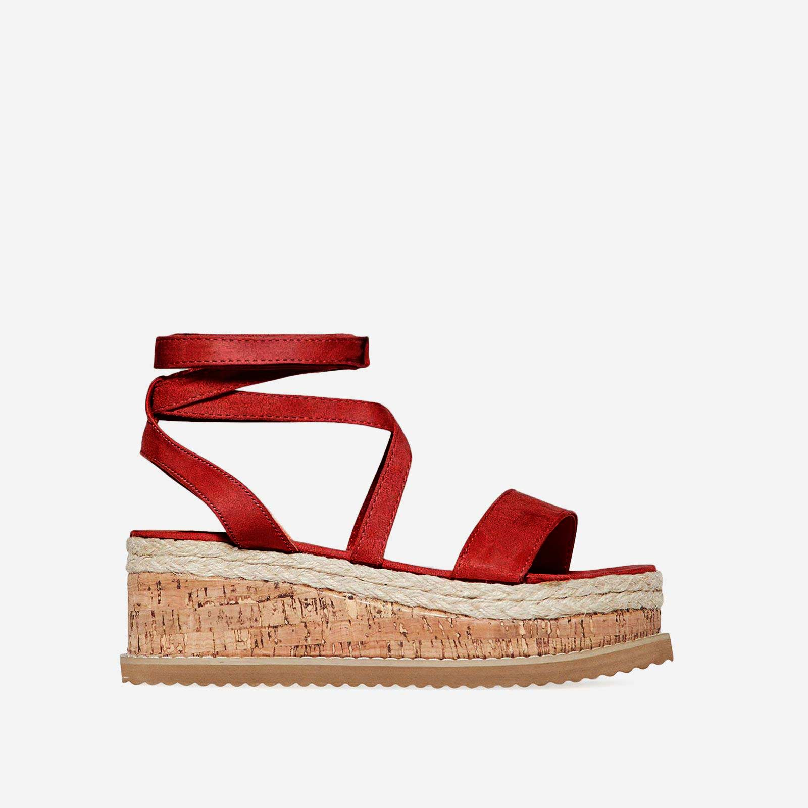 Abigail Strappy Espadrille Flatform In Red Faux Suede