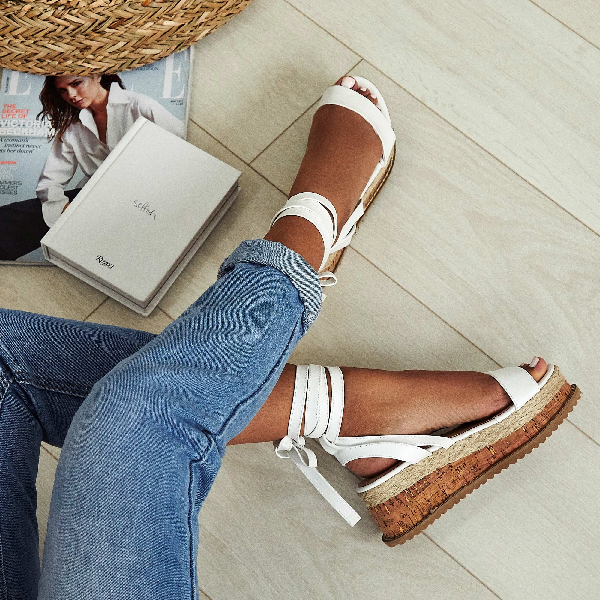 Abigail Strappy Espadrille Flatform In White Faux Leather Image 1
