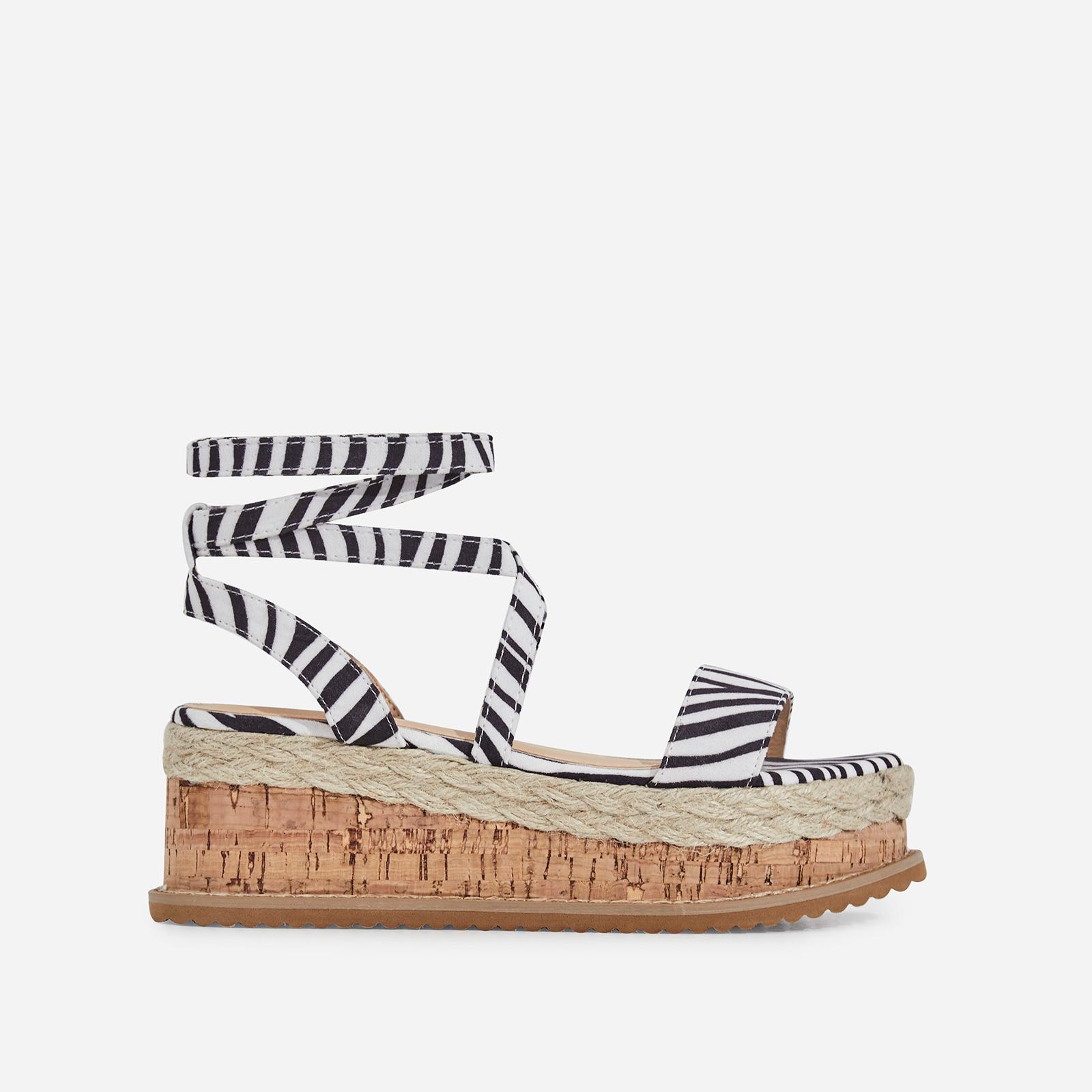 Abigail Strappy Espadrille Flatform In Zebra Print Faux Suede