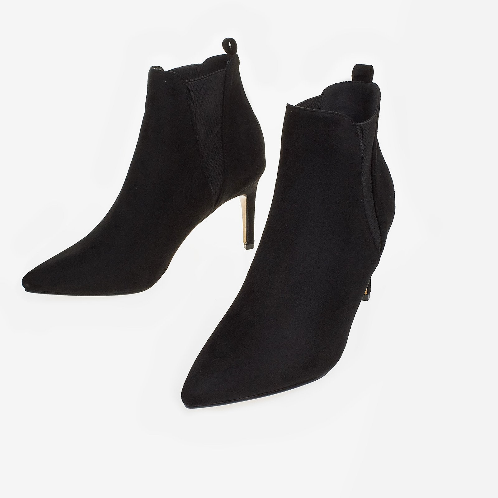 Blair Elasticated Ankle Boot In Black Faux Suede