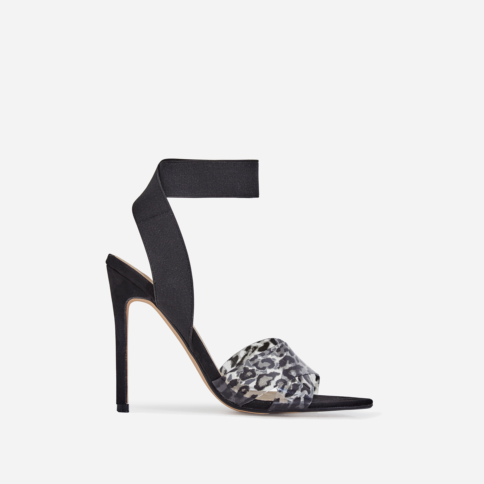 Adair Animal Print Perspex Detail Elasticated Heel In Black Faux Suede