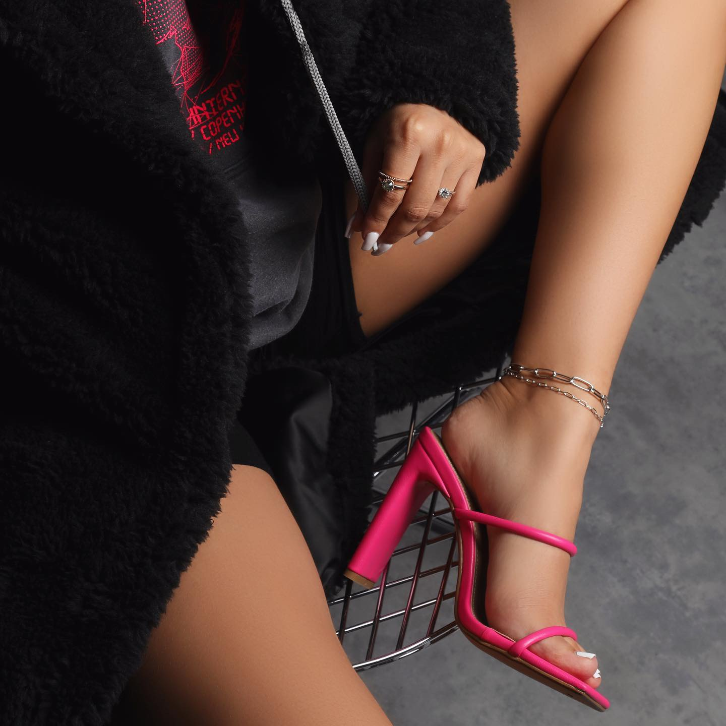 Highland Barely There Square Toe Heel Mule In Pink Faux Leather