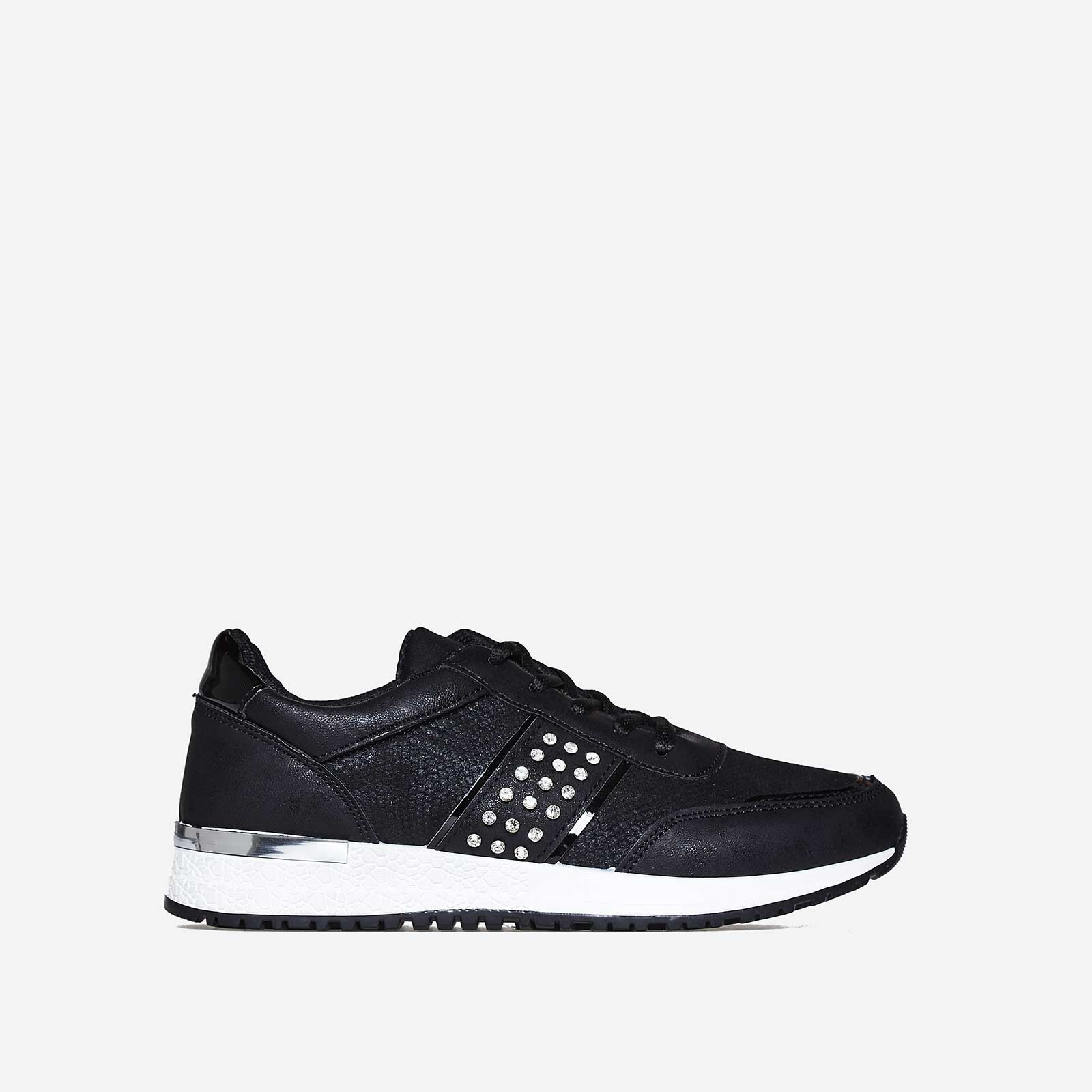 Aisley Studded Detail Trainer In Black Faux Leather