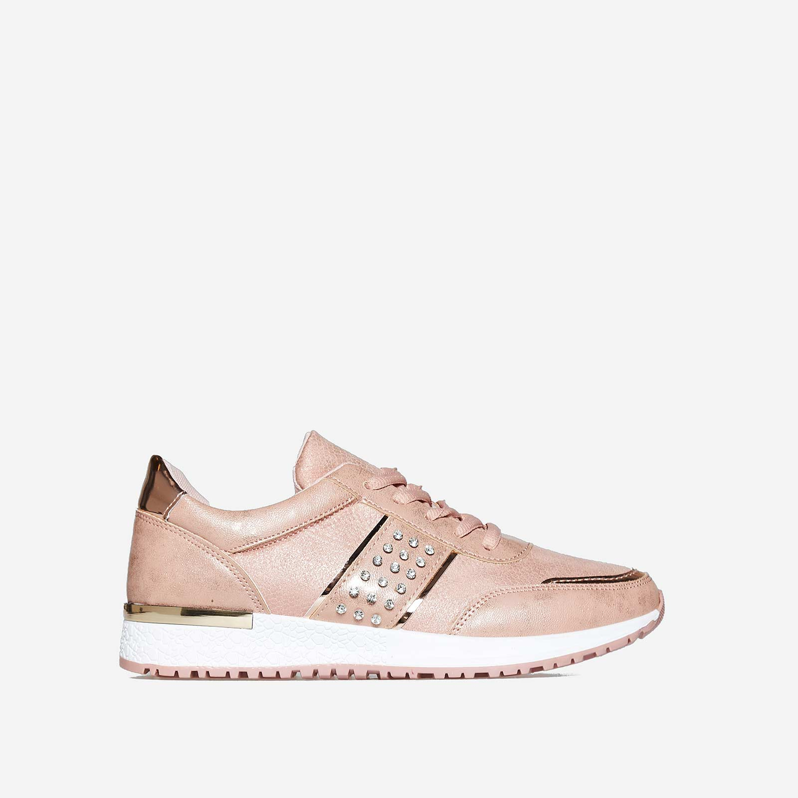 Aisley Studded Detail Trainer In Pink Faux leather