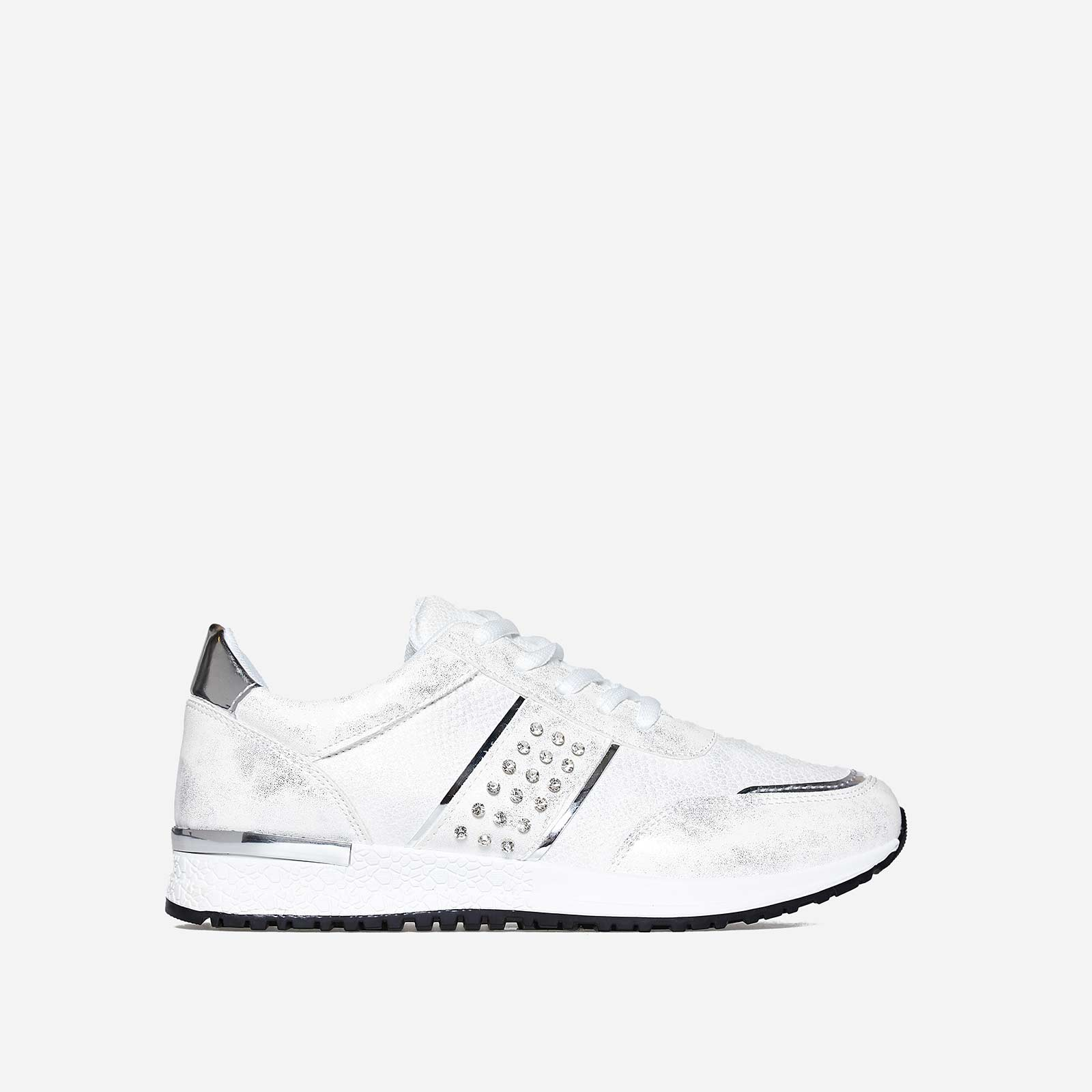 Aisley Studded Detail Trainer In White Faux Leather