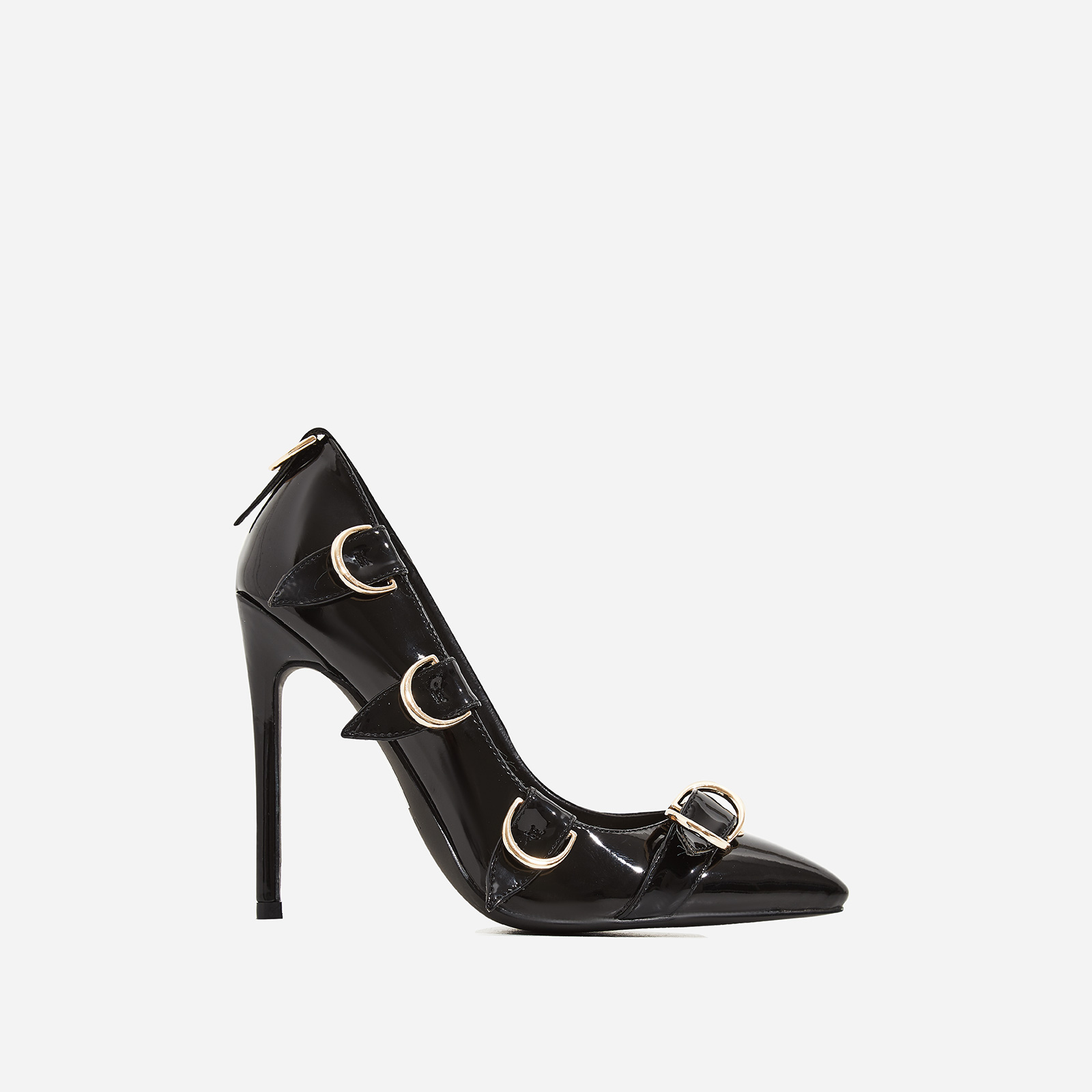 Aleko Buckle Detail Court Heel In Black Patent
