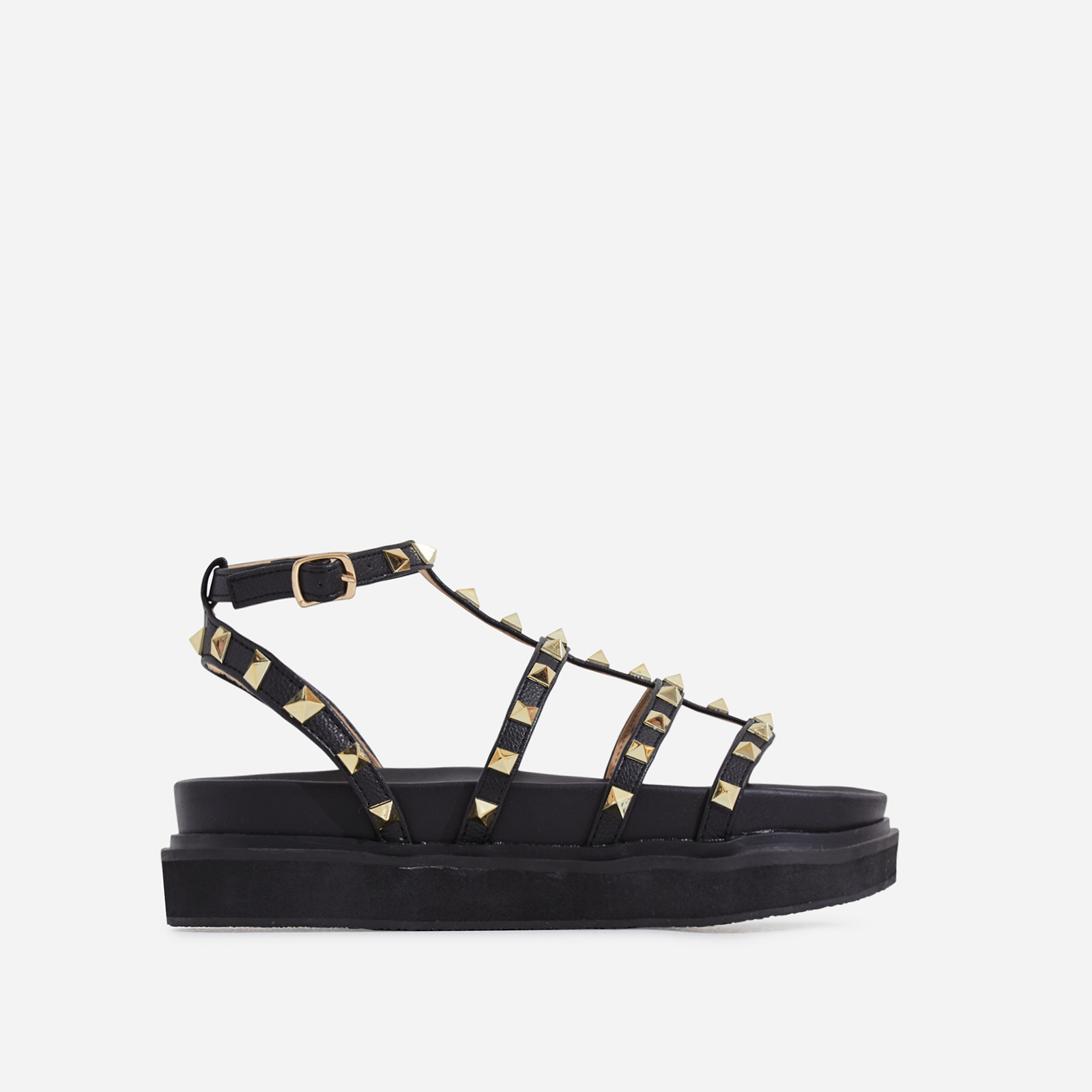 Alexandra Studded Detail Chunky Sole Sandal In Black Faux Leather