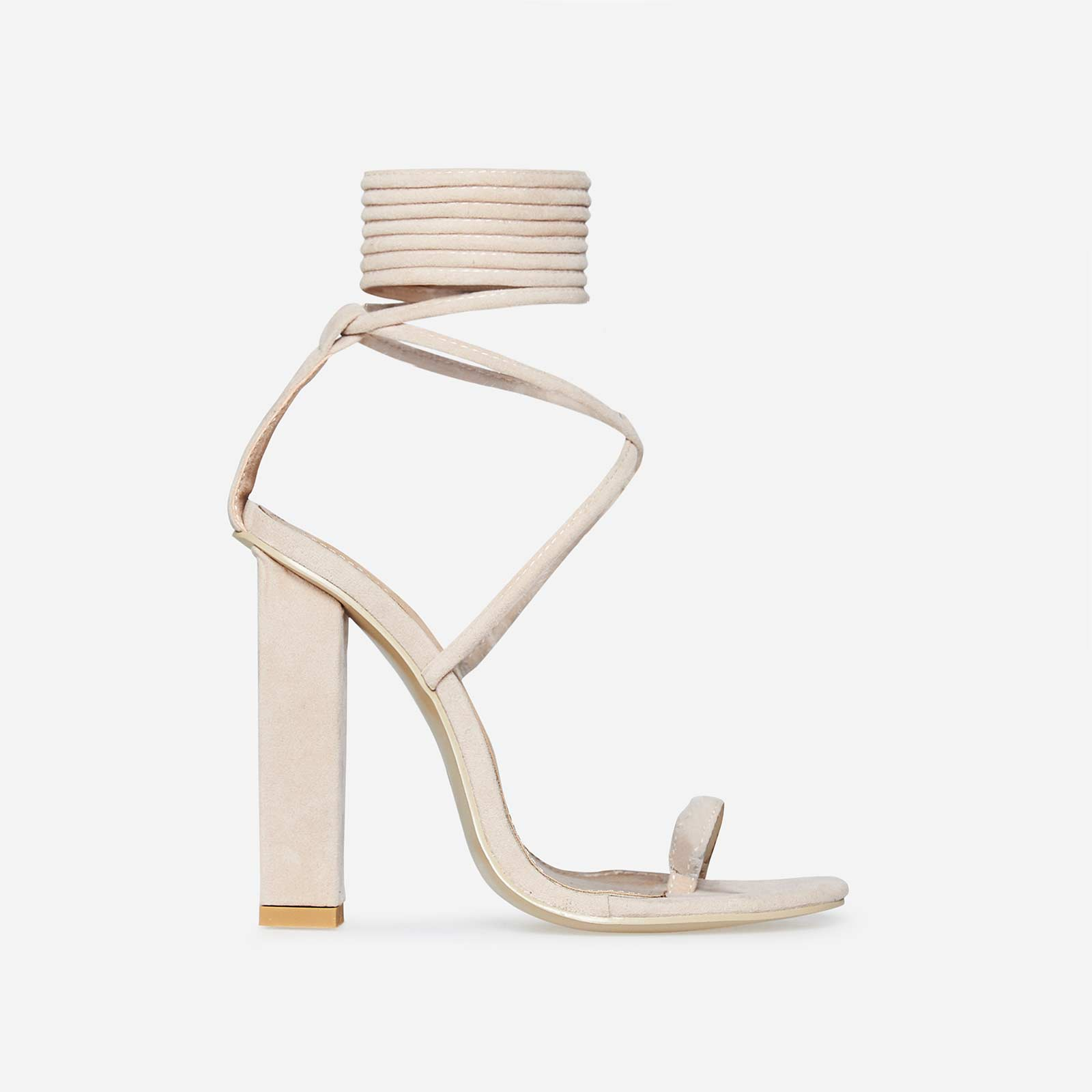 Alexi Lace Up Block Heel In Nude Faux Suede