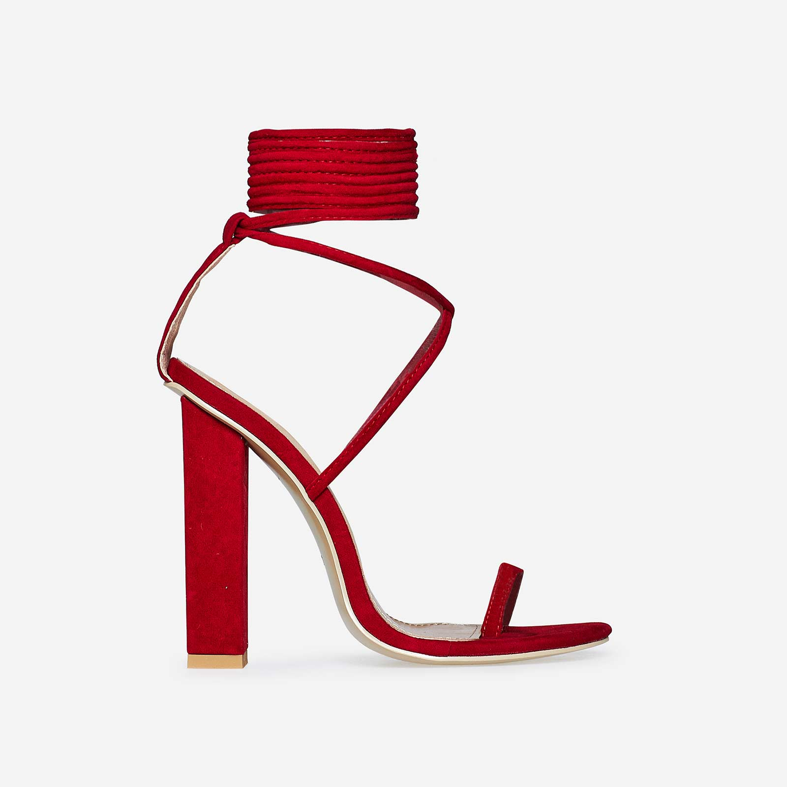 Alexi Lace Up Block Heel In Red Faux Suede