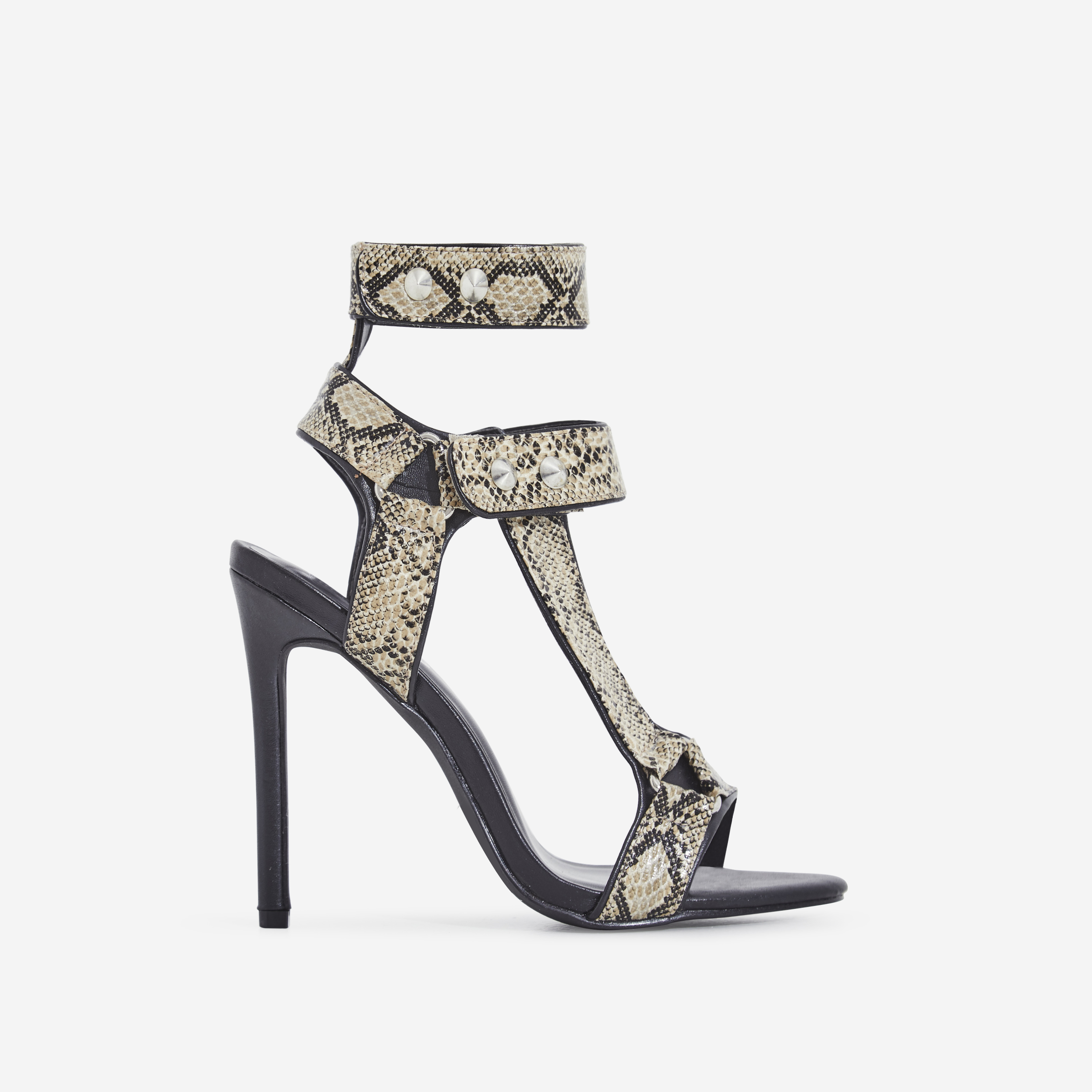 Alexis Cage Heel In Nude Snake Print Faux Leather