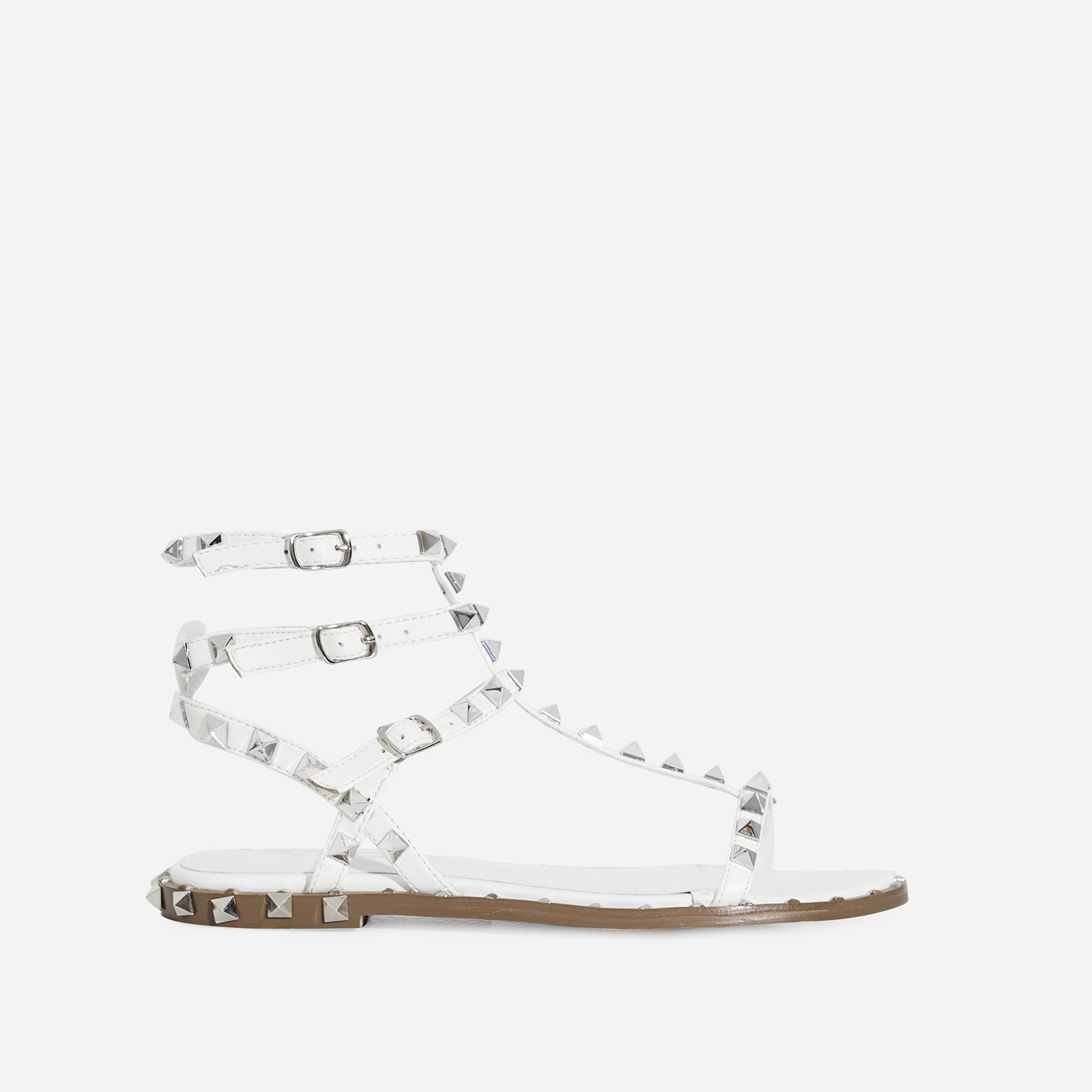 Alfie Silver Studded Detail Gladiator Sandal In White Faux Leather