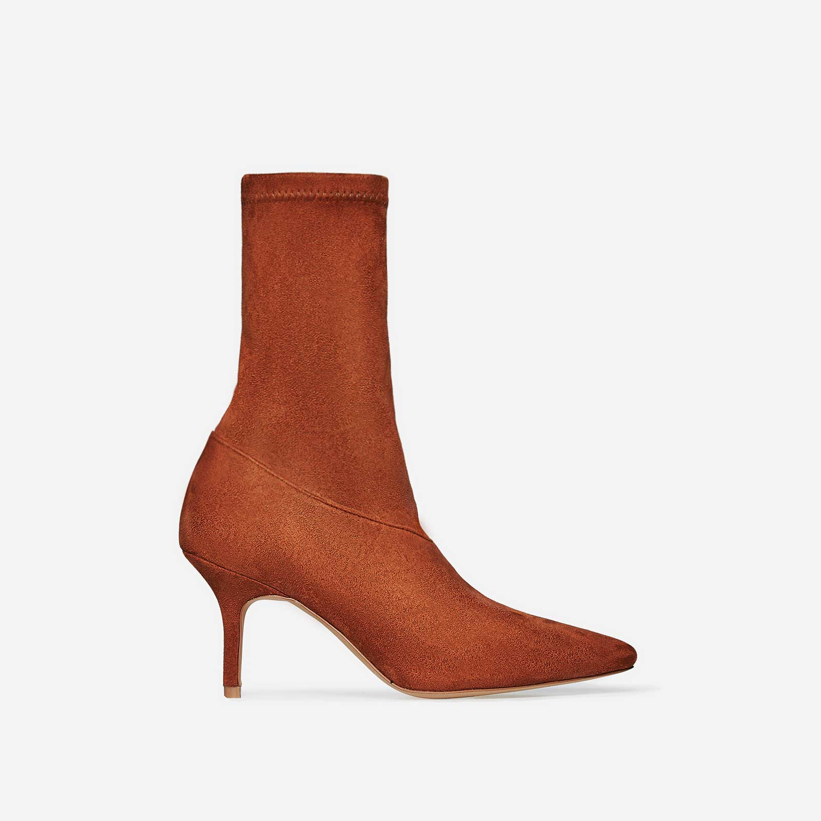 Alia Kitten Heel Sock Boot In Tan Faux Suede