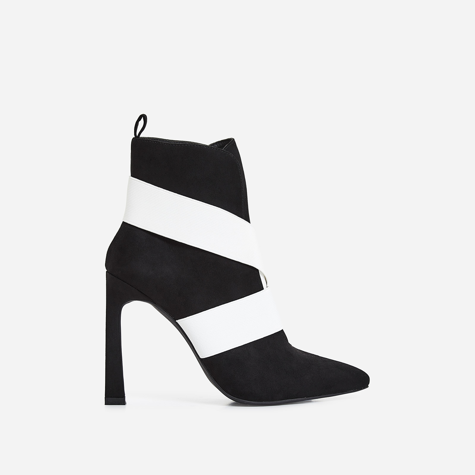 Alison White Elasticated Cross Over Ankle Boot In Black Faux Suede