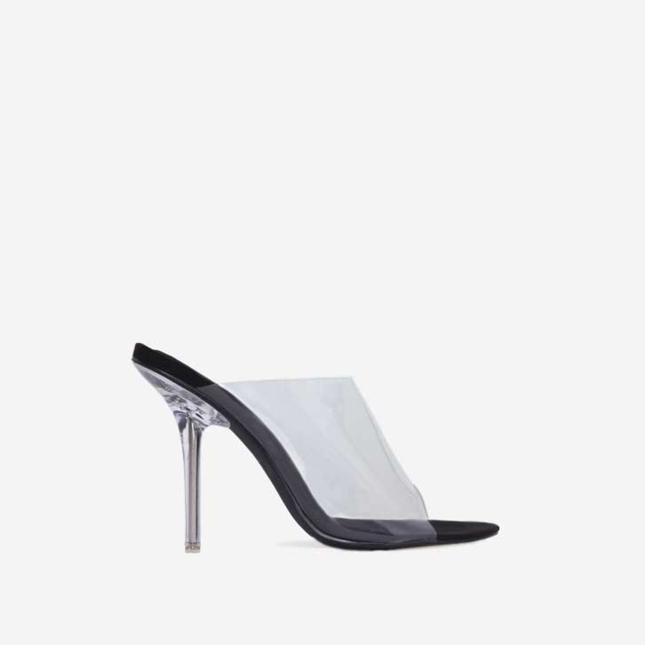 Allure Perspex Peep Toe Mule In Black Faux Suede