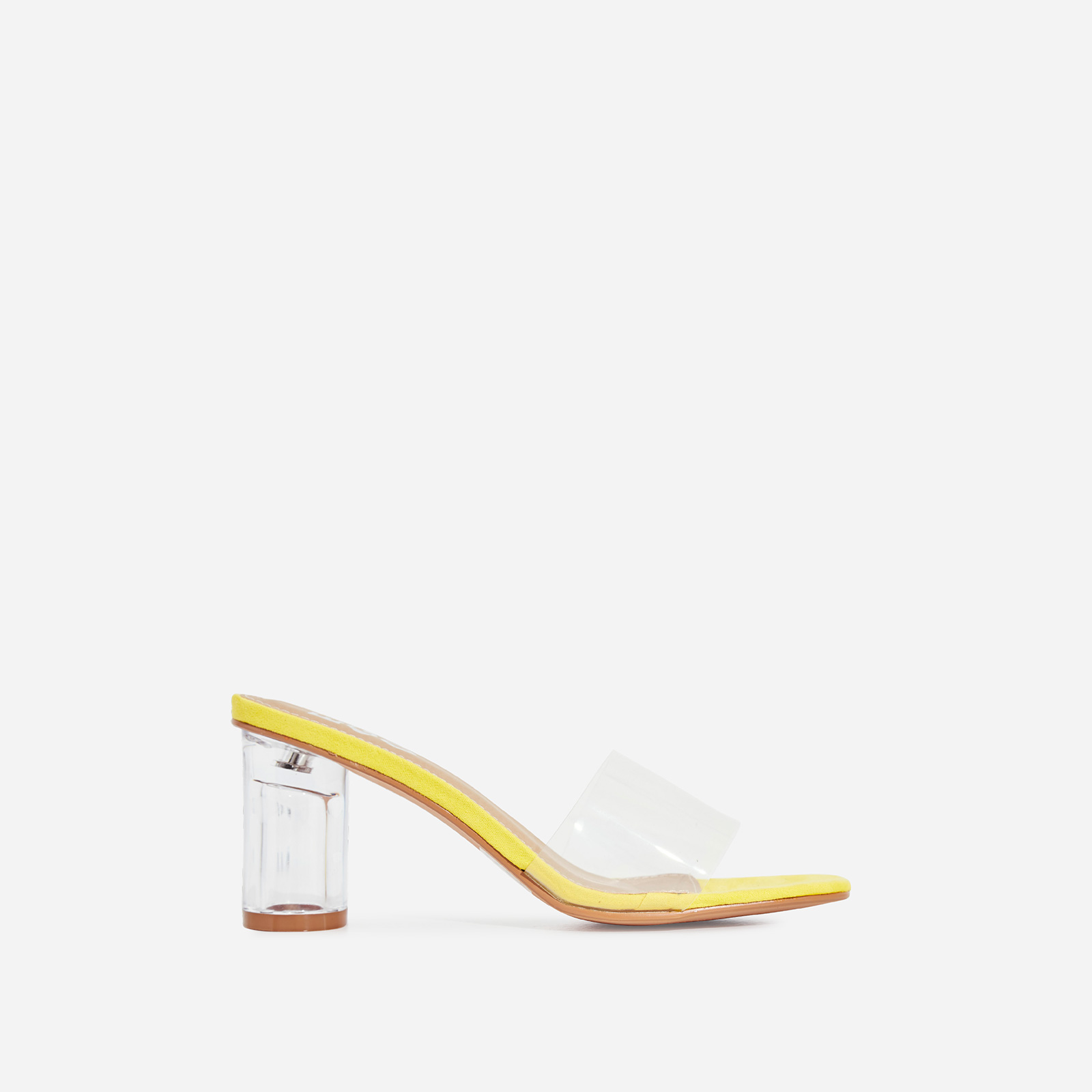 Alva Perspex Square Peep Toe Midi Block Heel Mule In Yellow Faux Suede