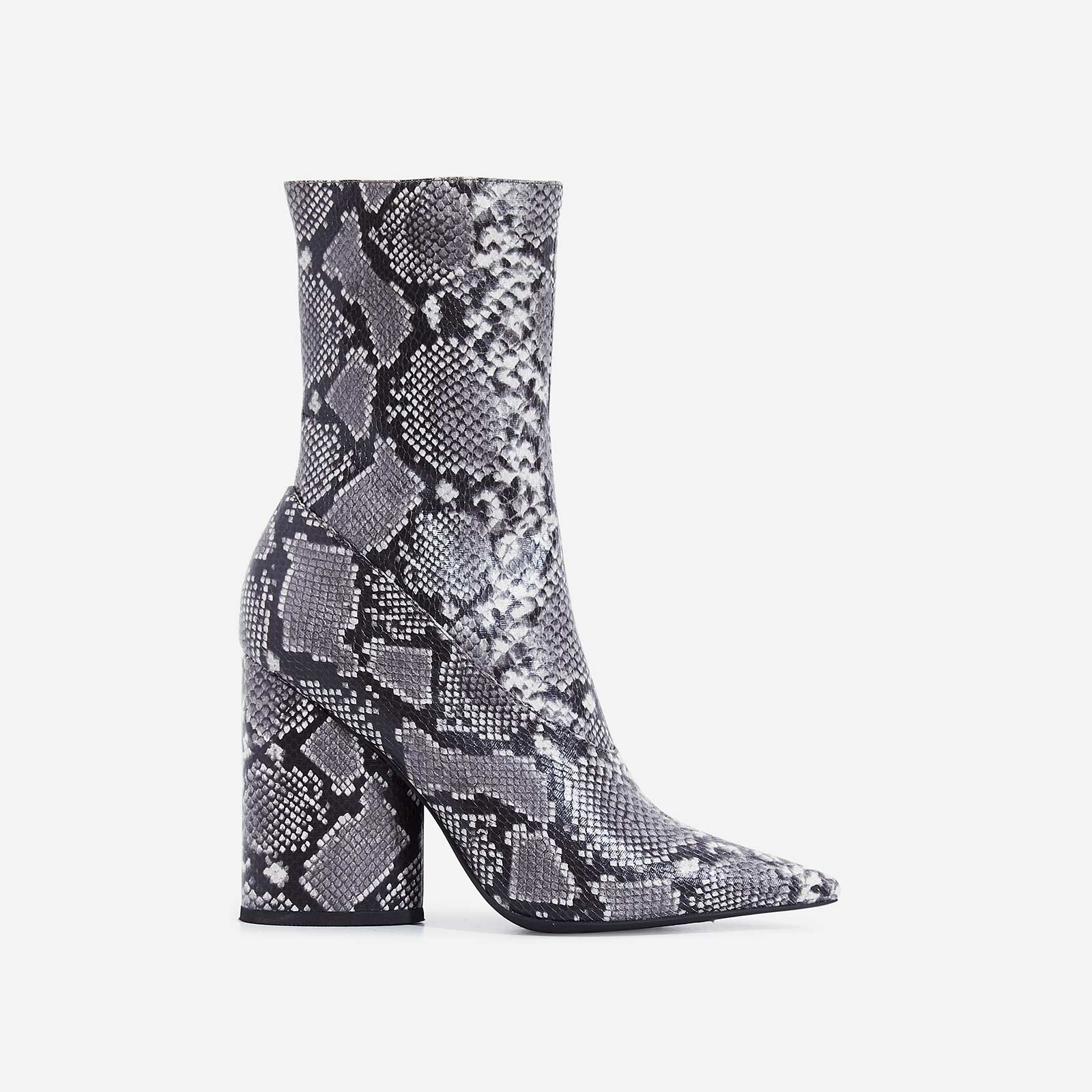 Ameera Block Heel Pointed Ankle Boot In Grey Snake Print Faux Leather