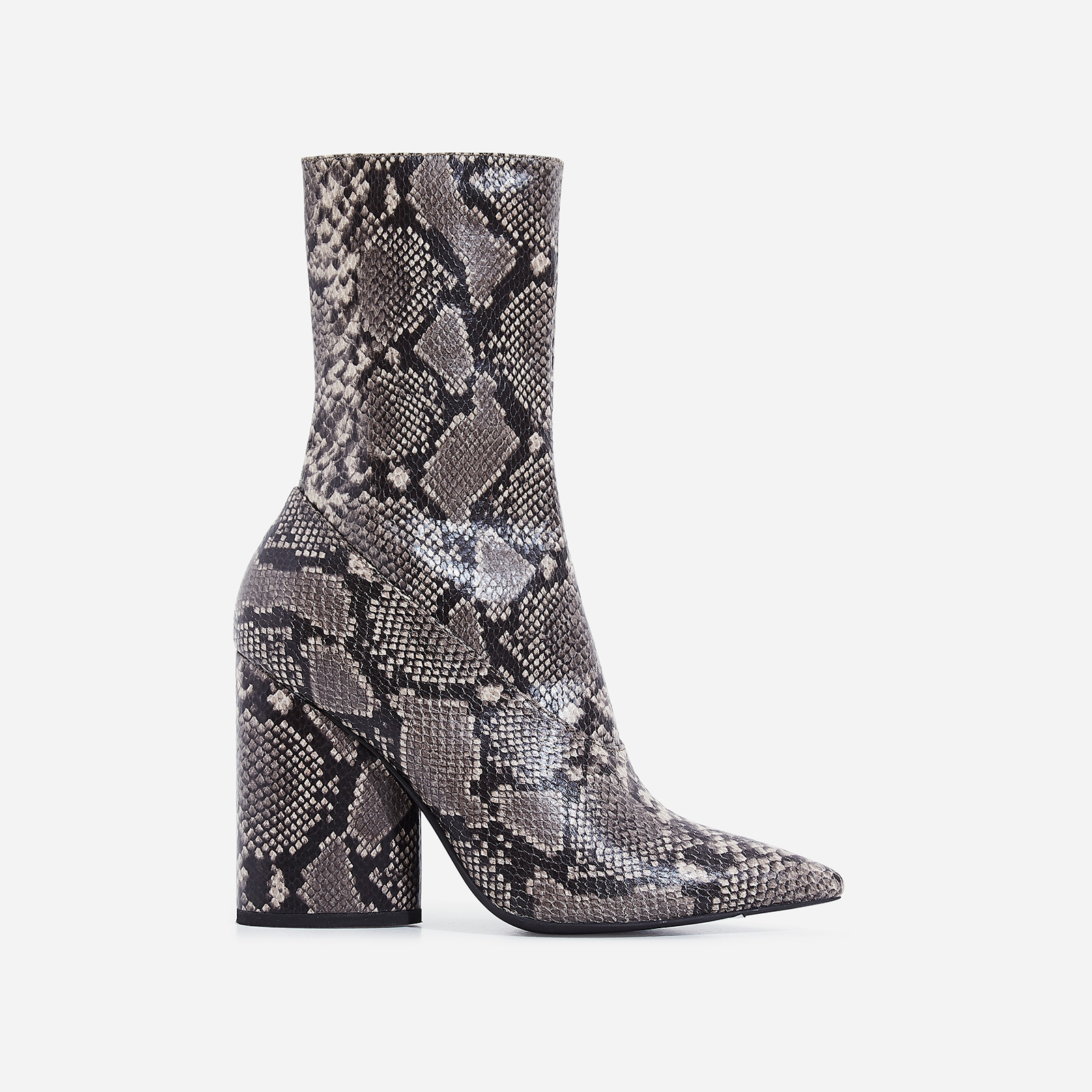Ameera Block Heel Pointed Ankle Boot In Khaki Snake Print Faux Leather