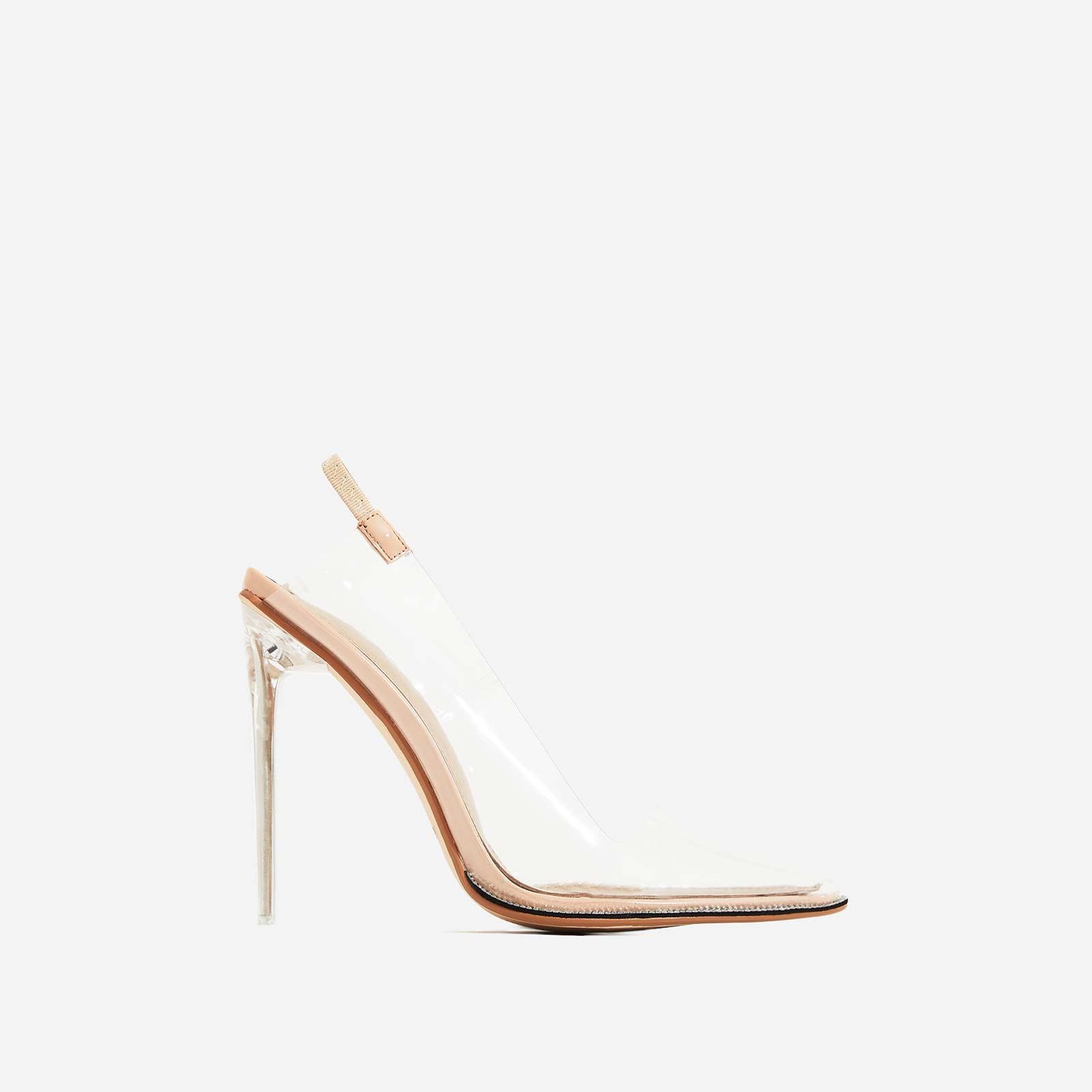 Amor Perspex Diamante Detail Heel In Nude Patent