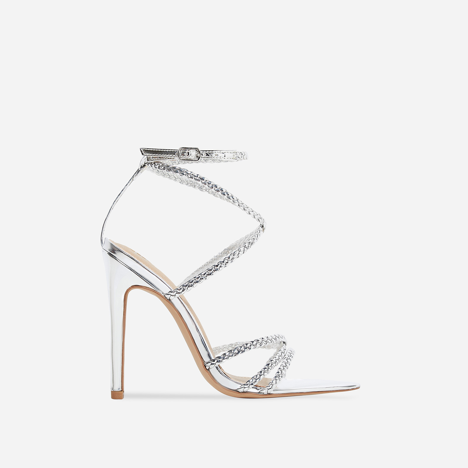 Angela Plaited Pointed Heel In Silver Patent