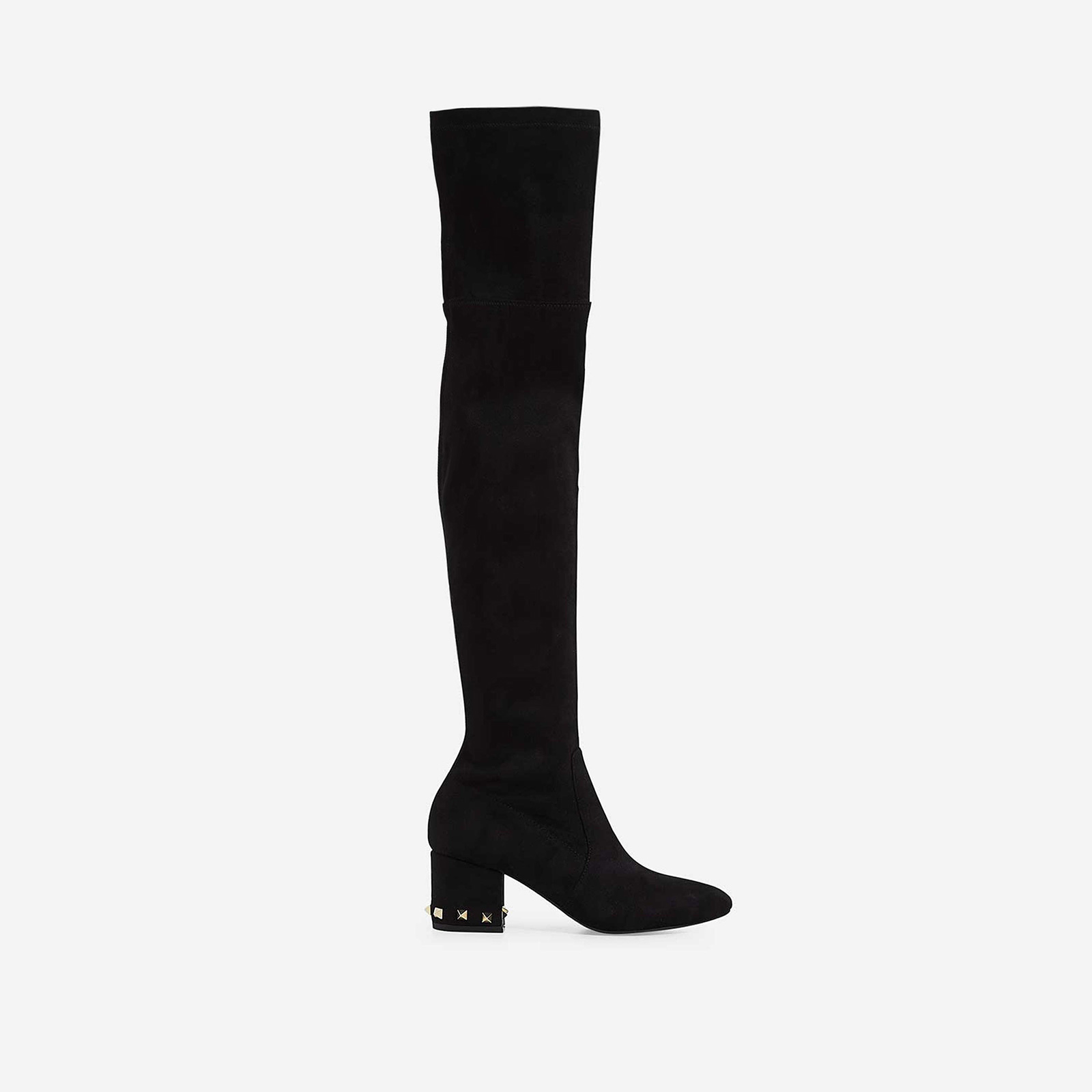 Anna Studded Detail Over The Knee Long Boot In Black Faux Suede