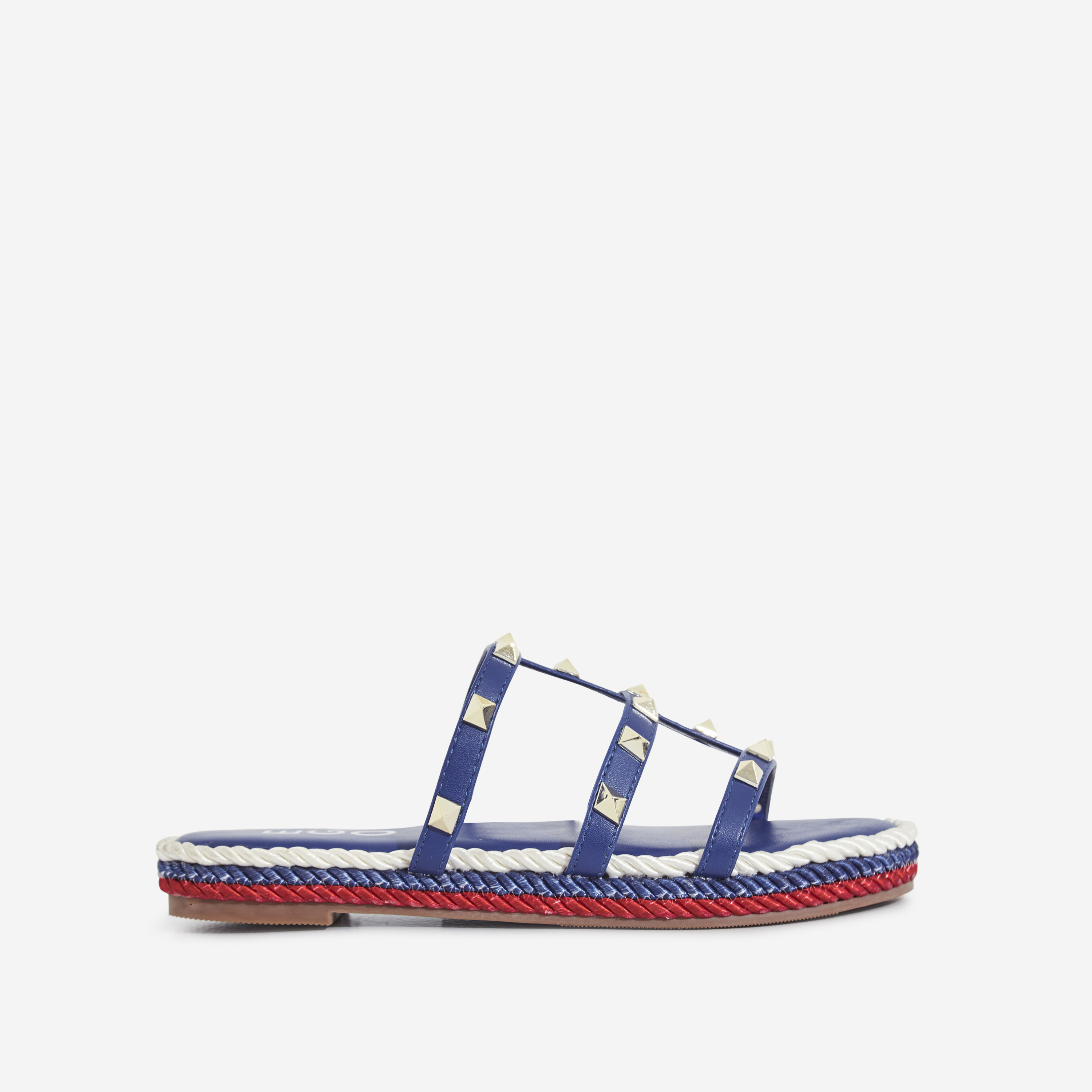 Apollo Studded Detail Rope Espadrille Sandal In Blue Faux Leather