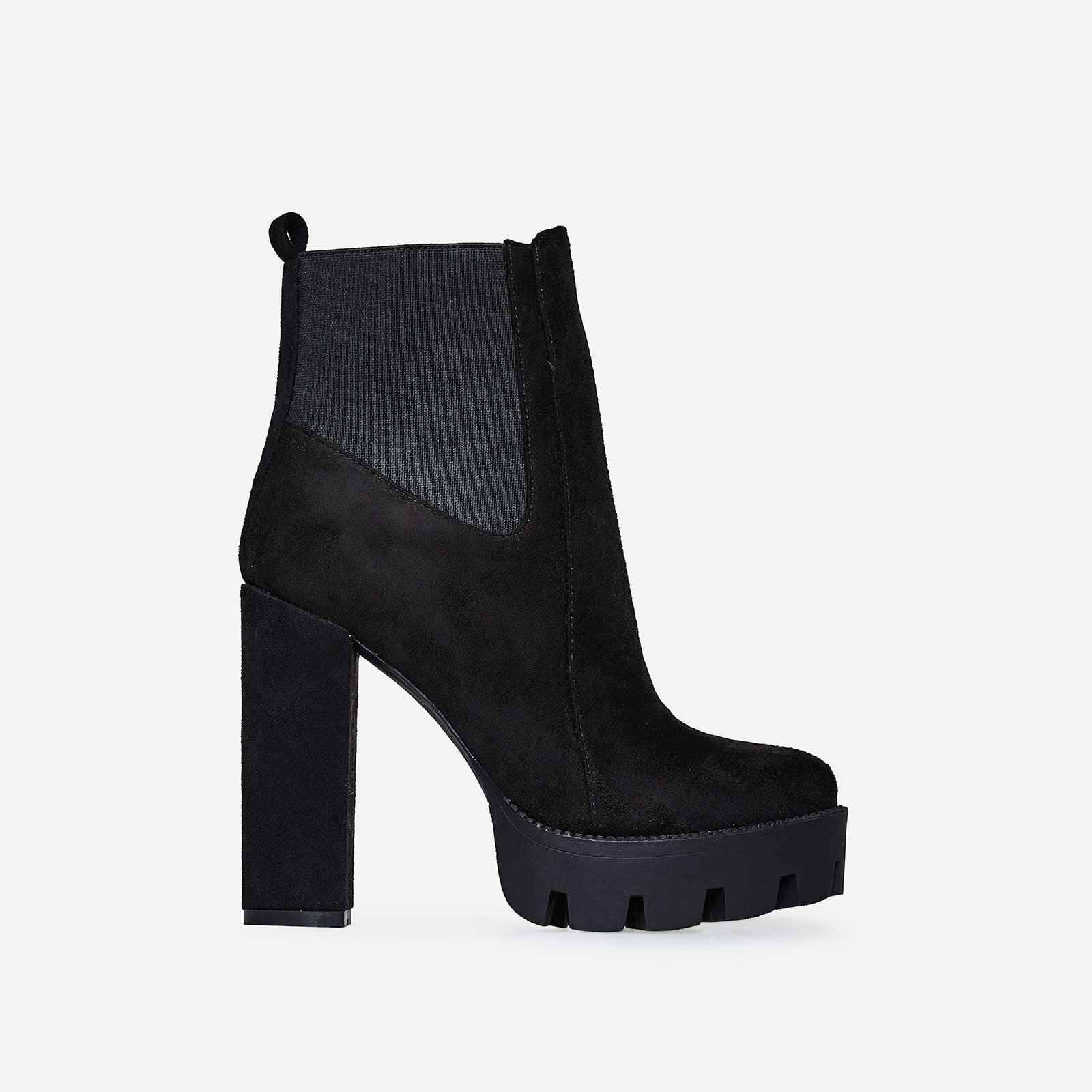 Atlas Platform Biker Boot In Black Faux Suede