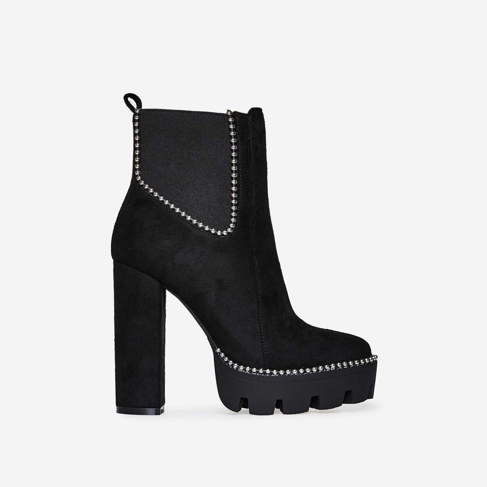 Aubree Studded Detail Platform Biker Boot In Black Faux Suede