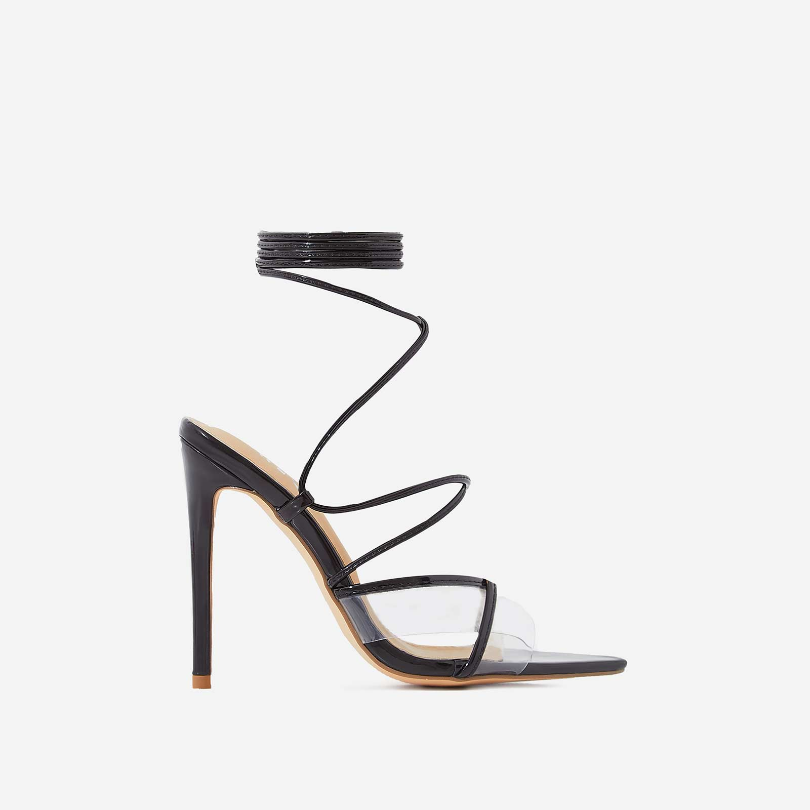 Ava Perspex Lace Up Heel In Black Patent
