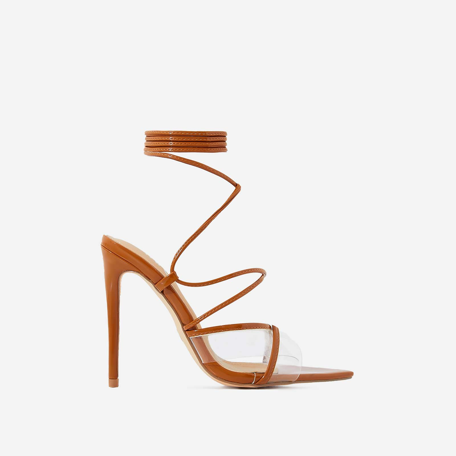 Ava Perspex Lace Up Heel In Mocha Patent