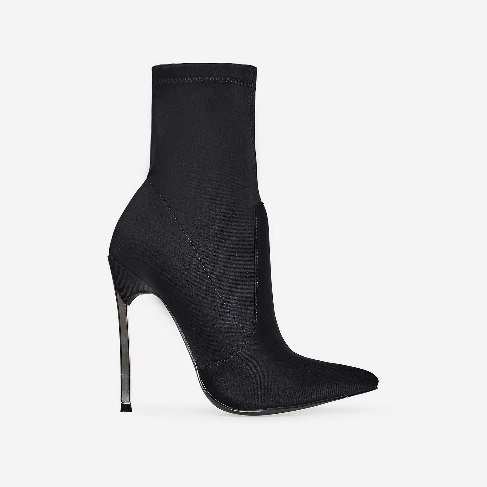 Ava Skinny Heel Pointed Toe Sock Boot In Black Lycra