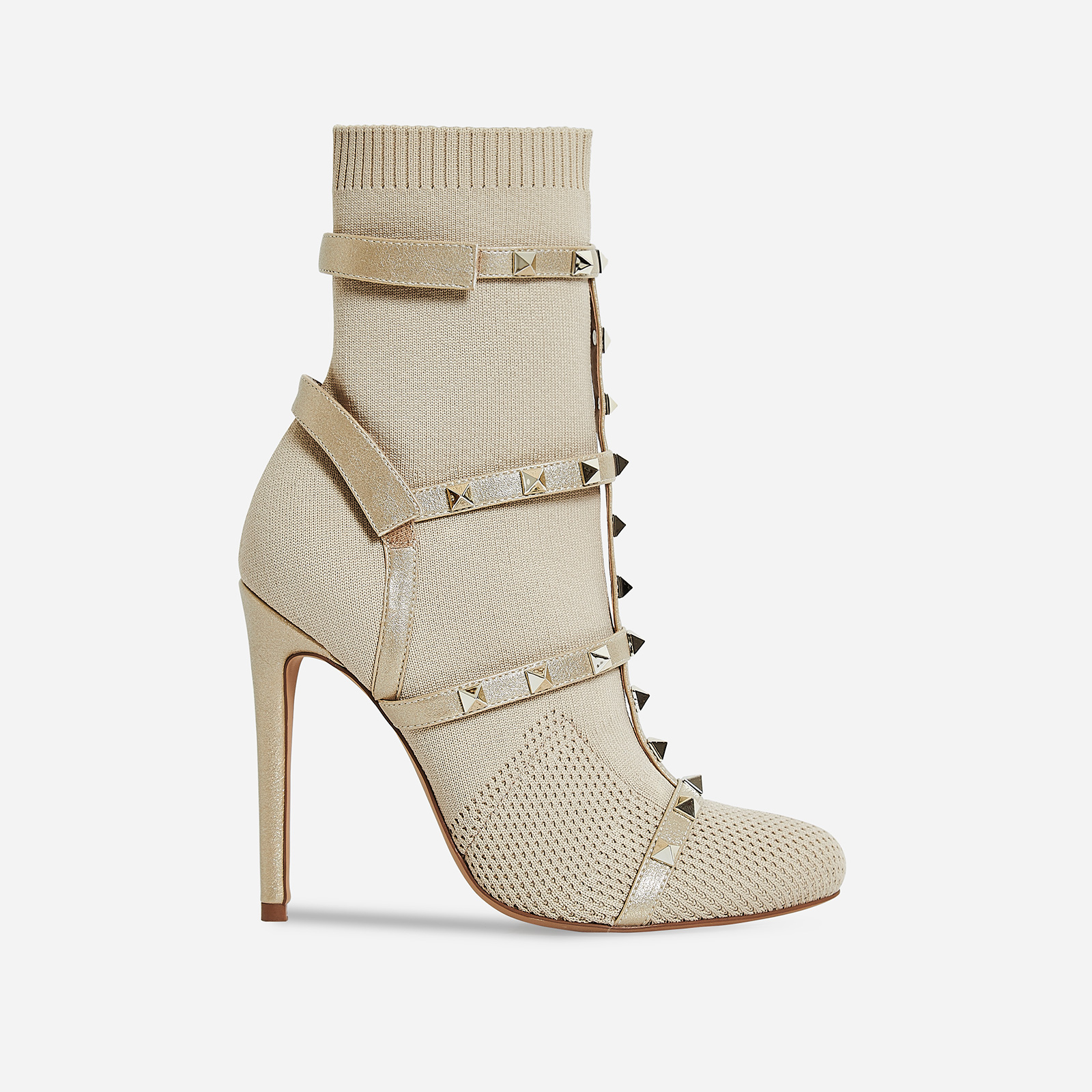 Axel Studded Detail Sock Boot In Nude Knit