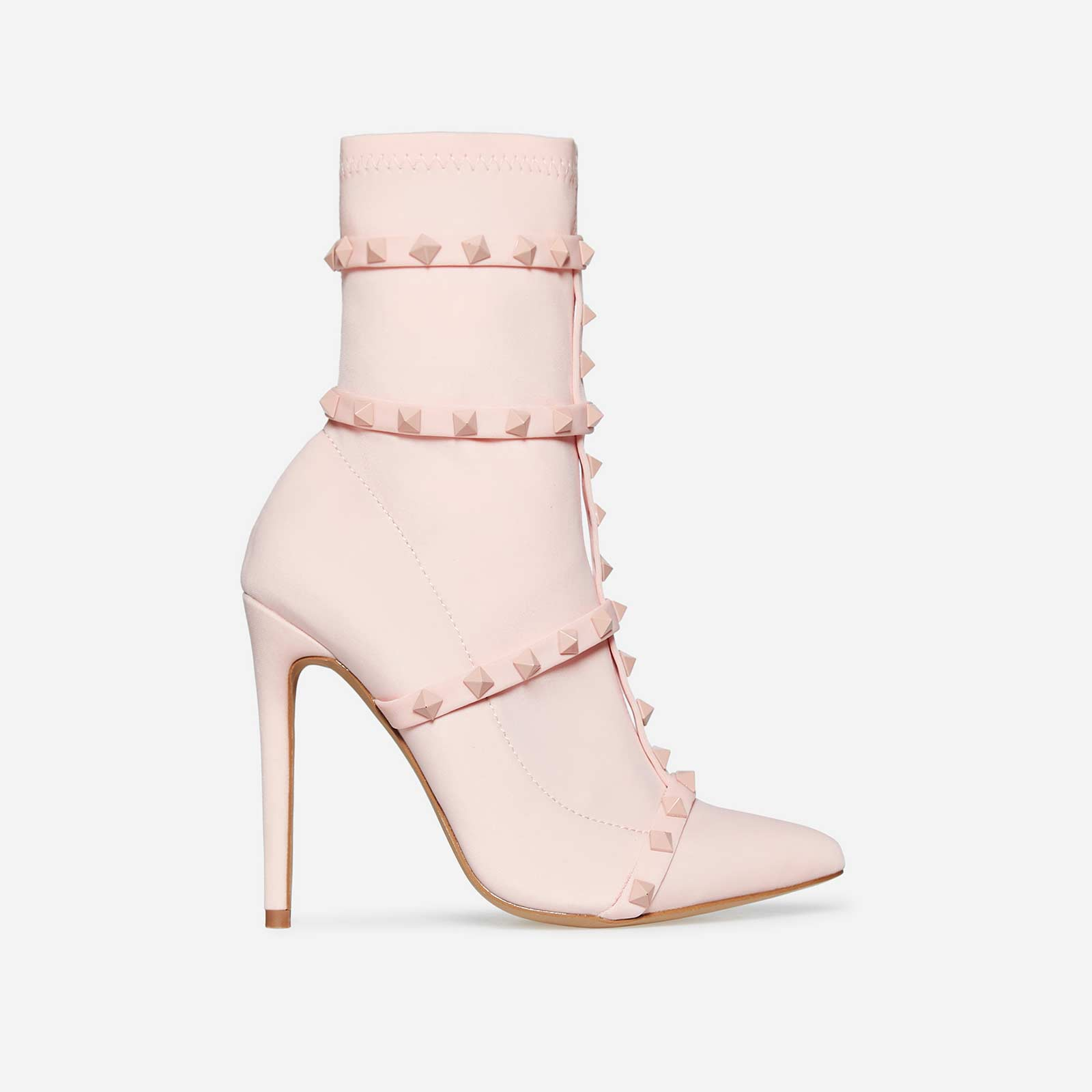 Axel Studded Detail Sock Boot In Pink Lycra