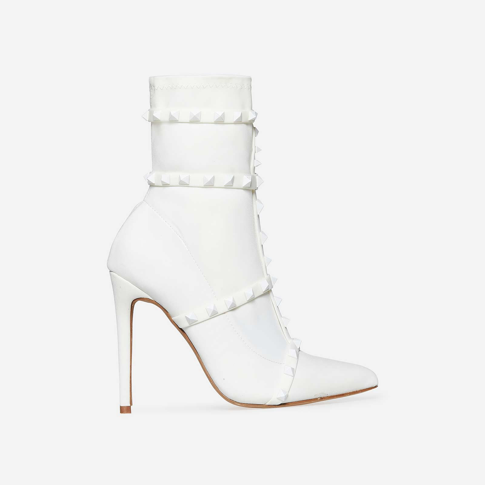 Axel Studded Detail Sock Boot In White Lycra