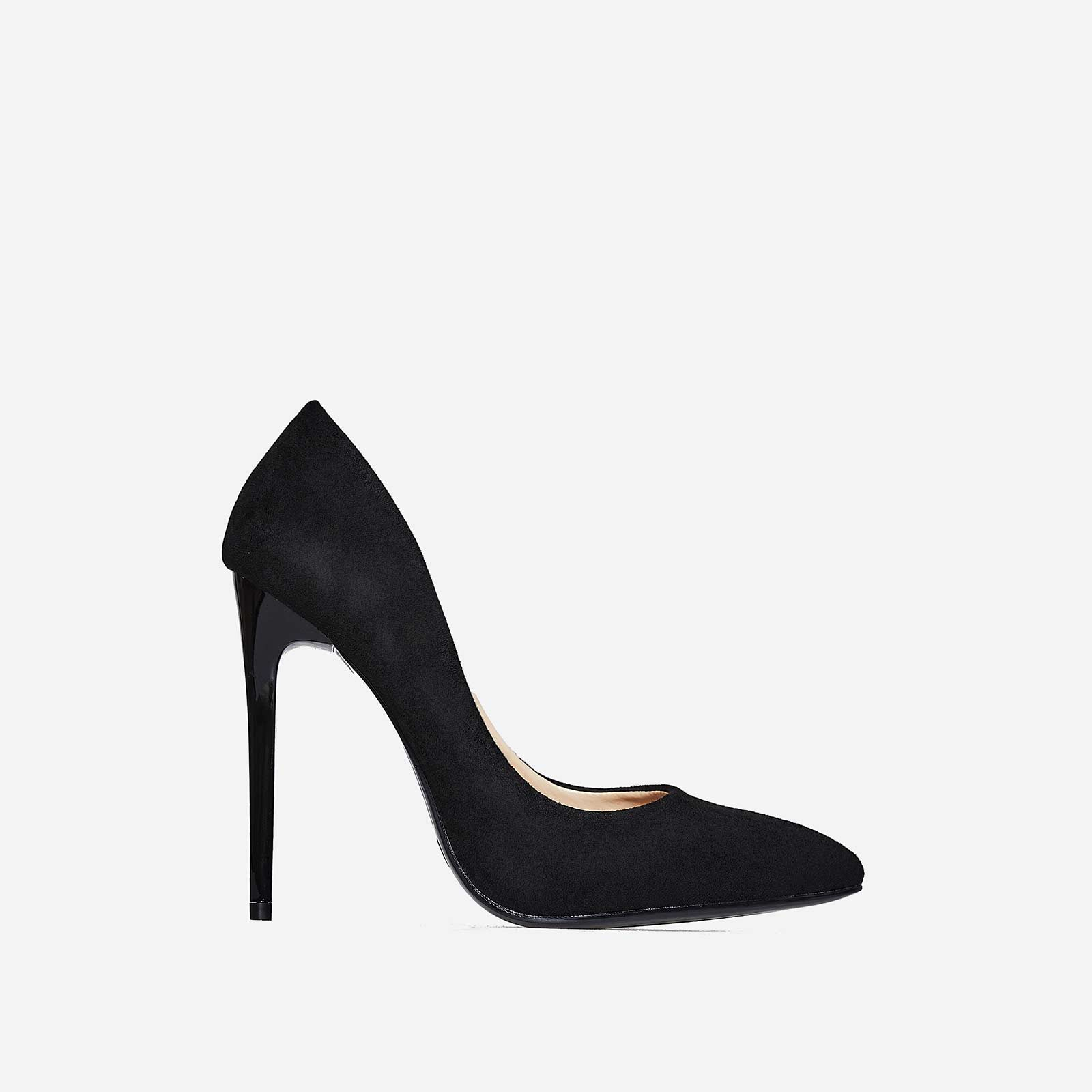 Bronte Court Heel In Black Faux Suede
