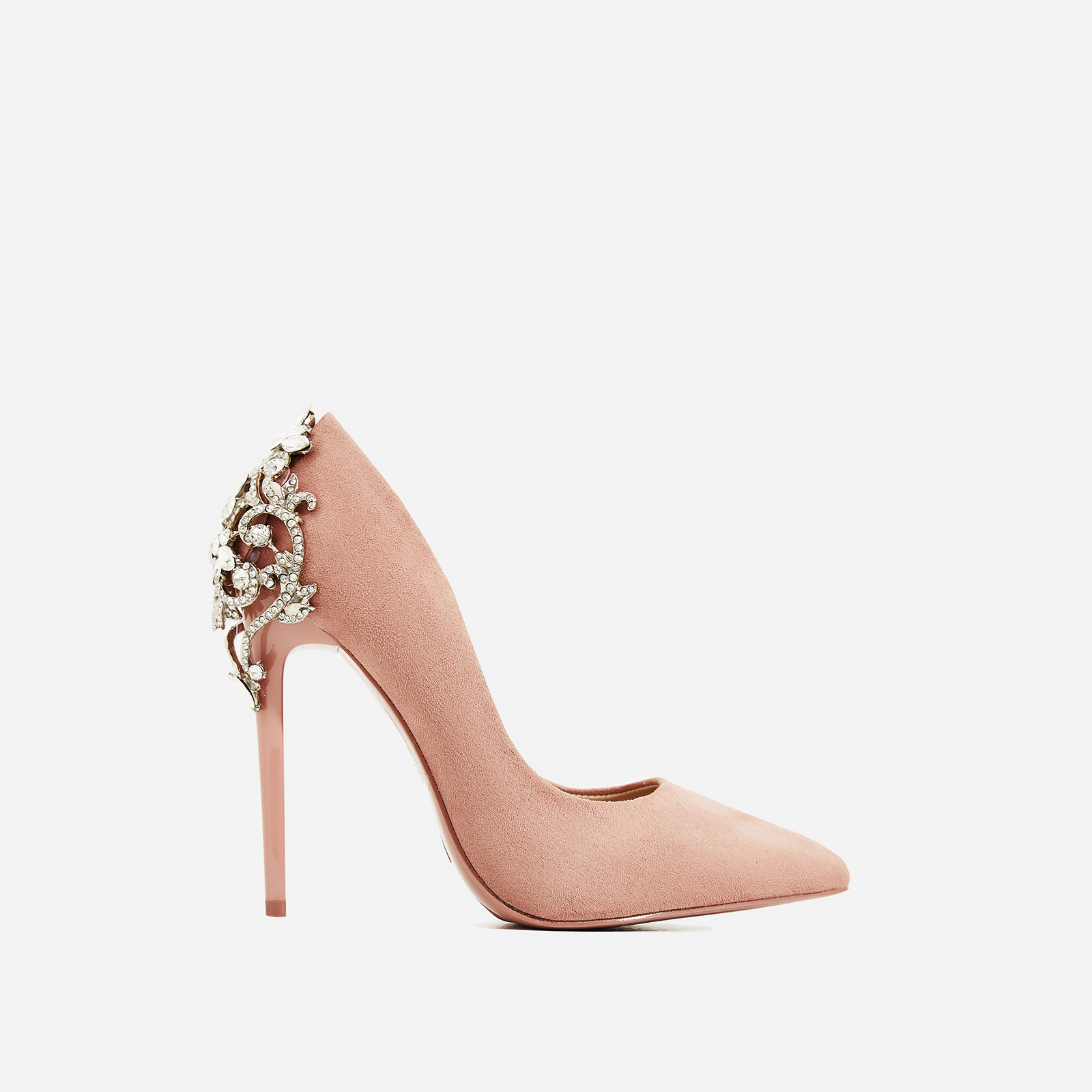 Aries Jewel Embellished Court Heel In Blush Pink Faux Suede
