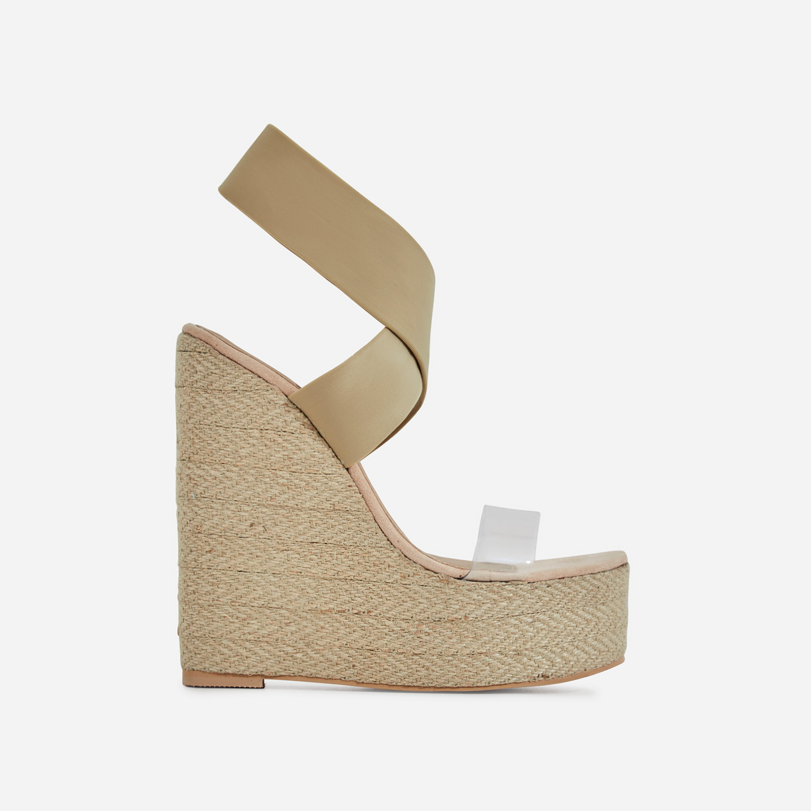 Bailey Perspex Platform Elasticated Espadrille Wedge Block Heel In Nude Faux Suede