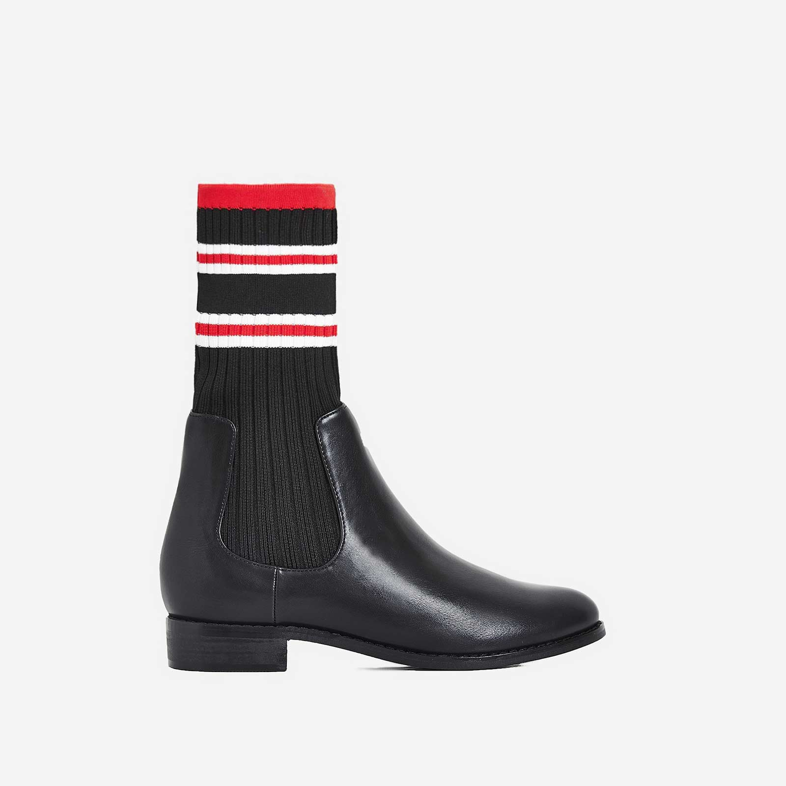 Barton Knitted Ankle Sock Boot In Black Faux Leather
