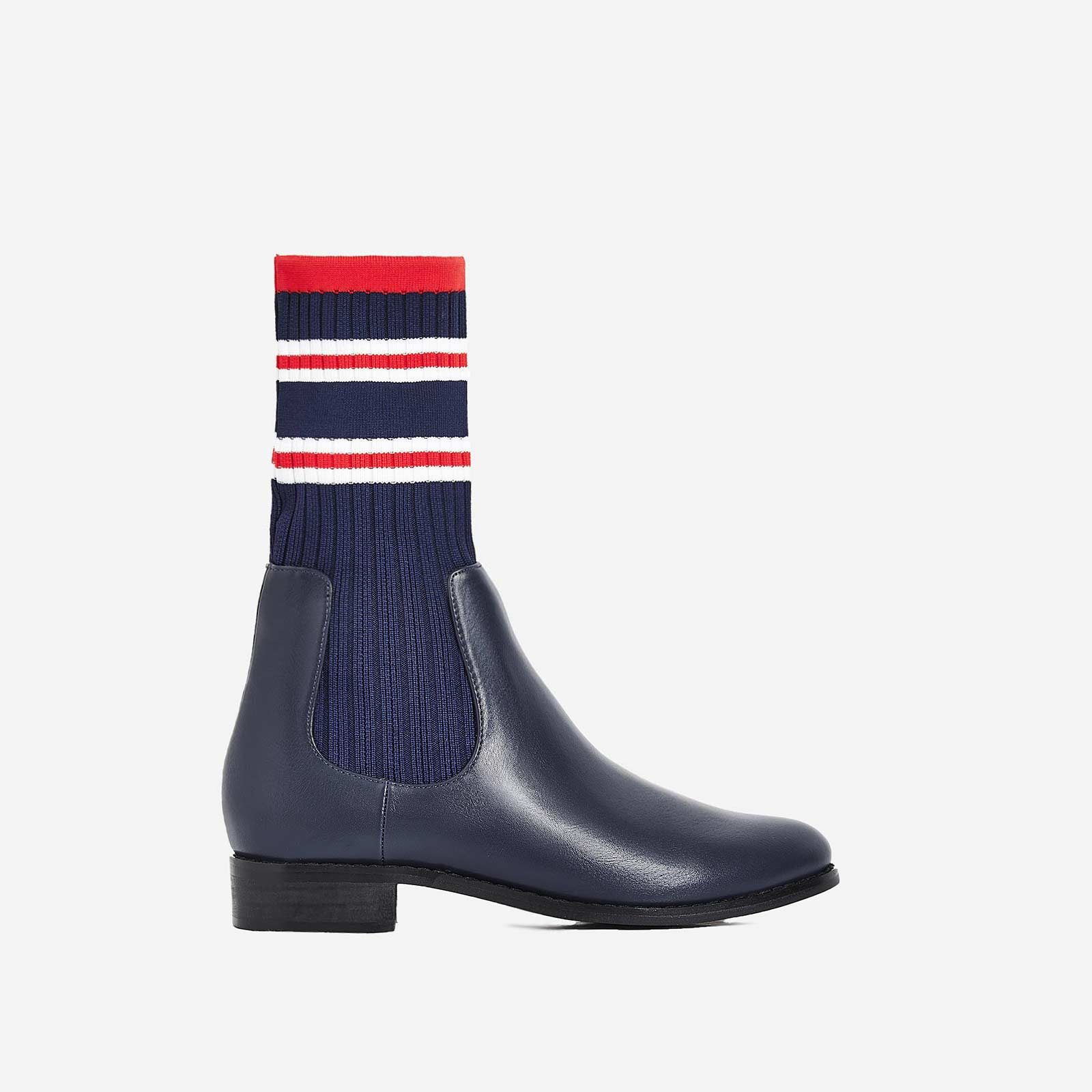 Barton Knitted Ankle Sock Boot In Navy Faux Leather