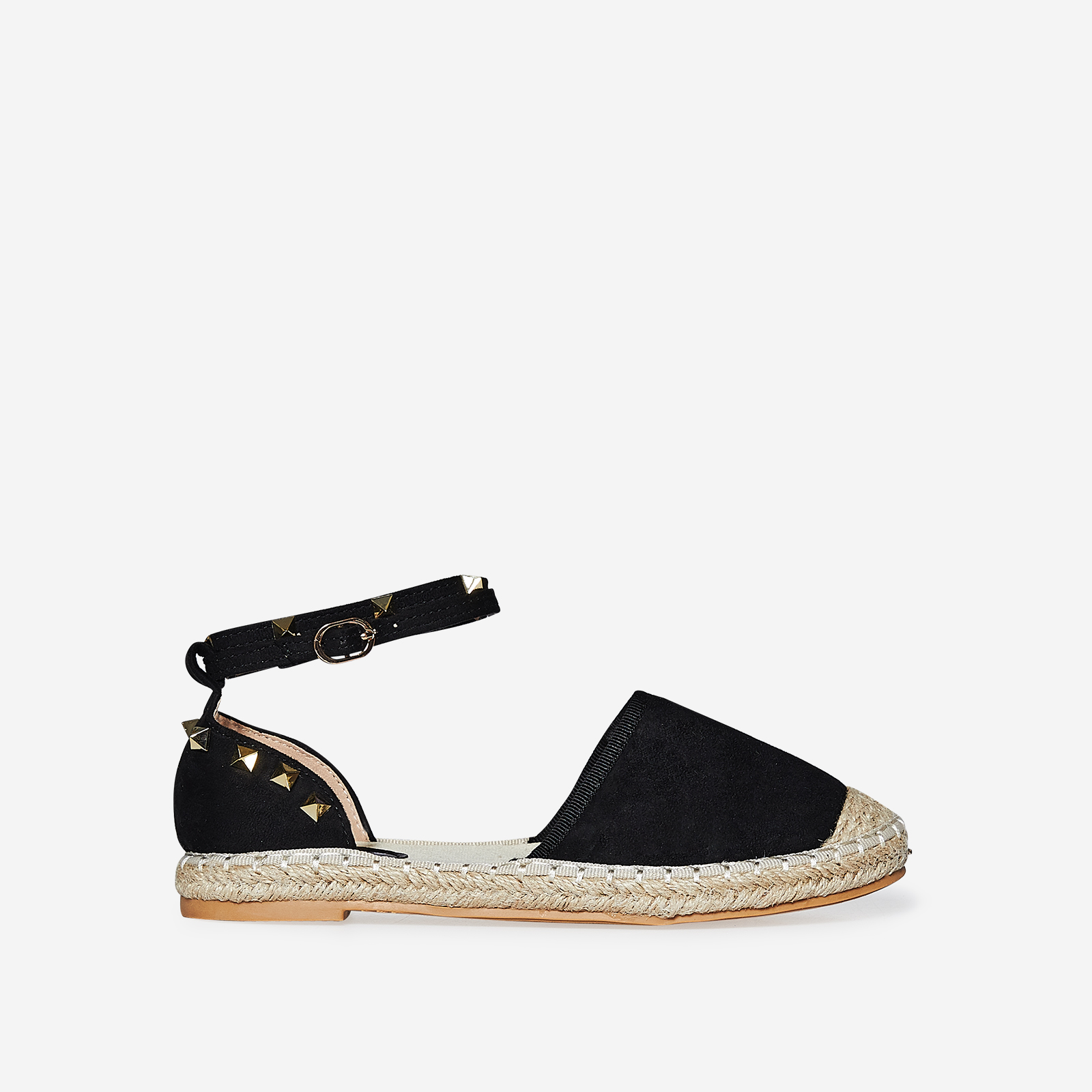 Belfast Studded Detail Espadrille In Black Faux Suede