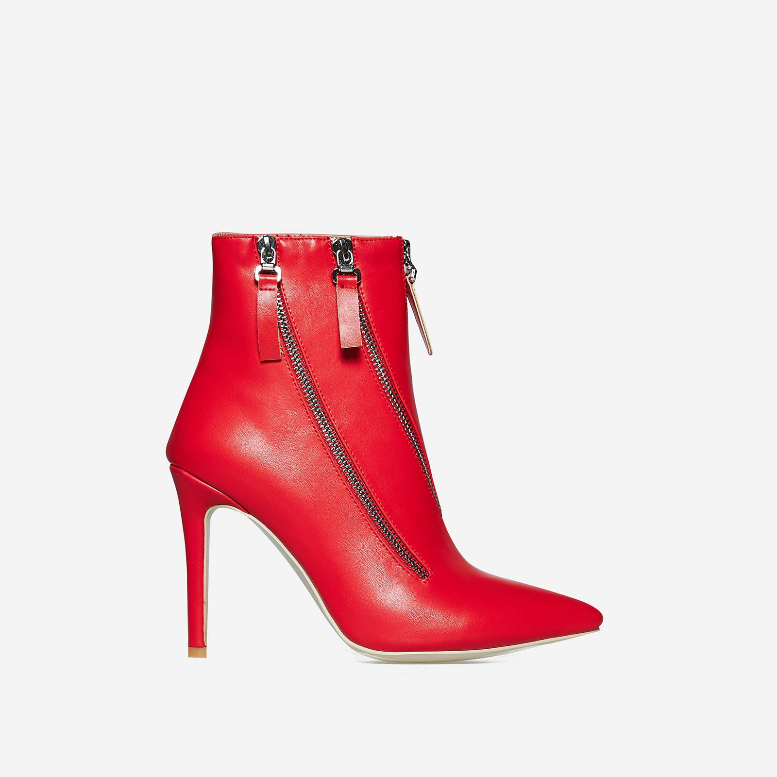 Belfry Triple Zip Detail Ankle Boot In Red Faux Leather
