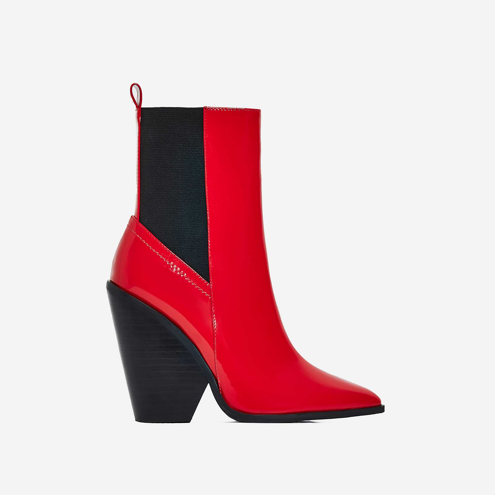Bella Black Heel Ankle Boot In Red Patent